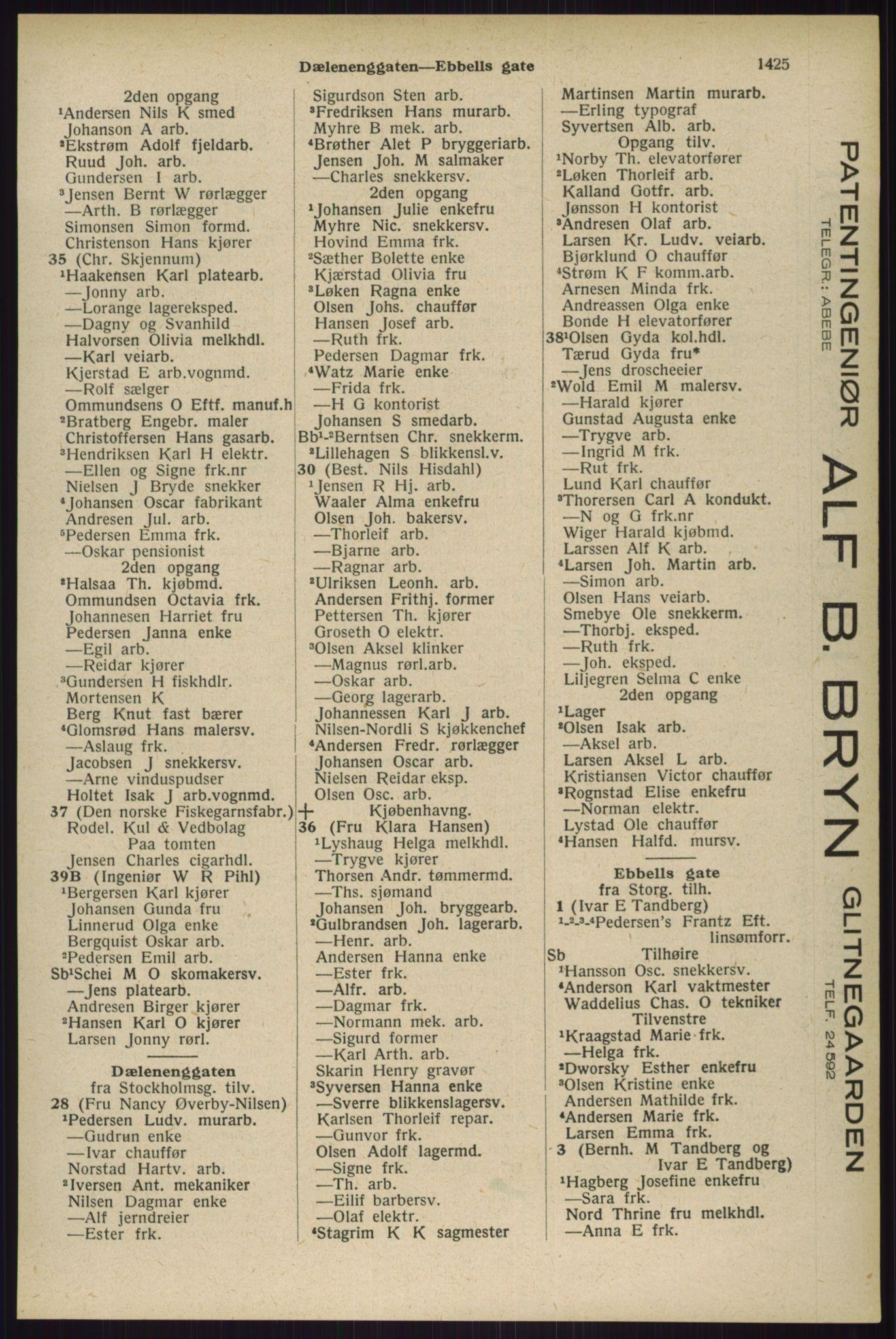 RA, Oslo adressebok (publikasjon)*, 1929, s. 1425