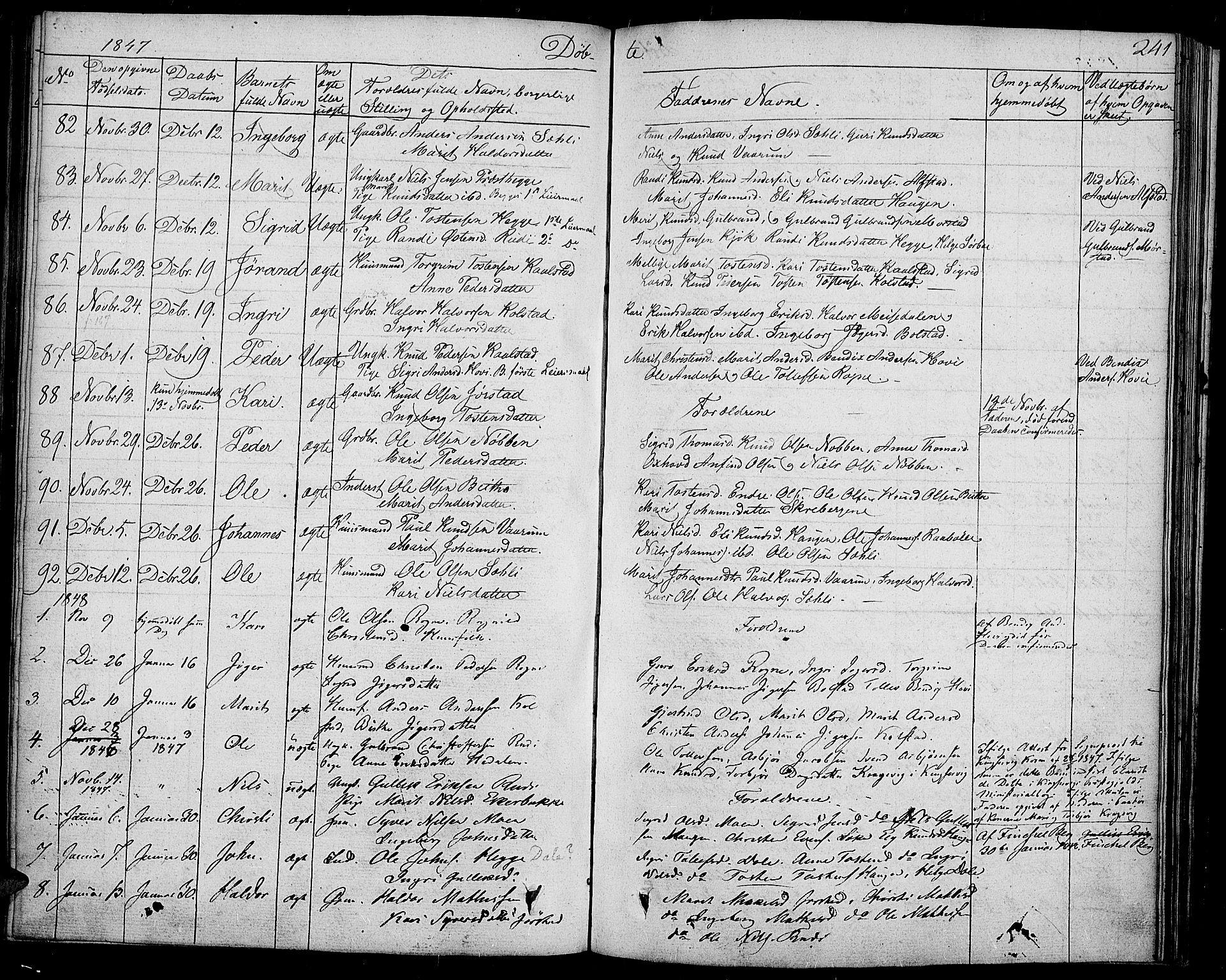 SAH, Slidre prestekontor, Ministerialbok nr. 4, 1831-1848, s. 241