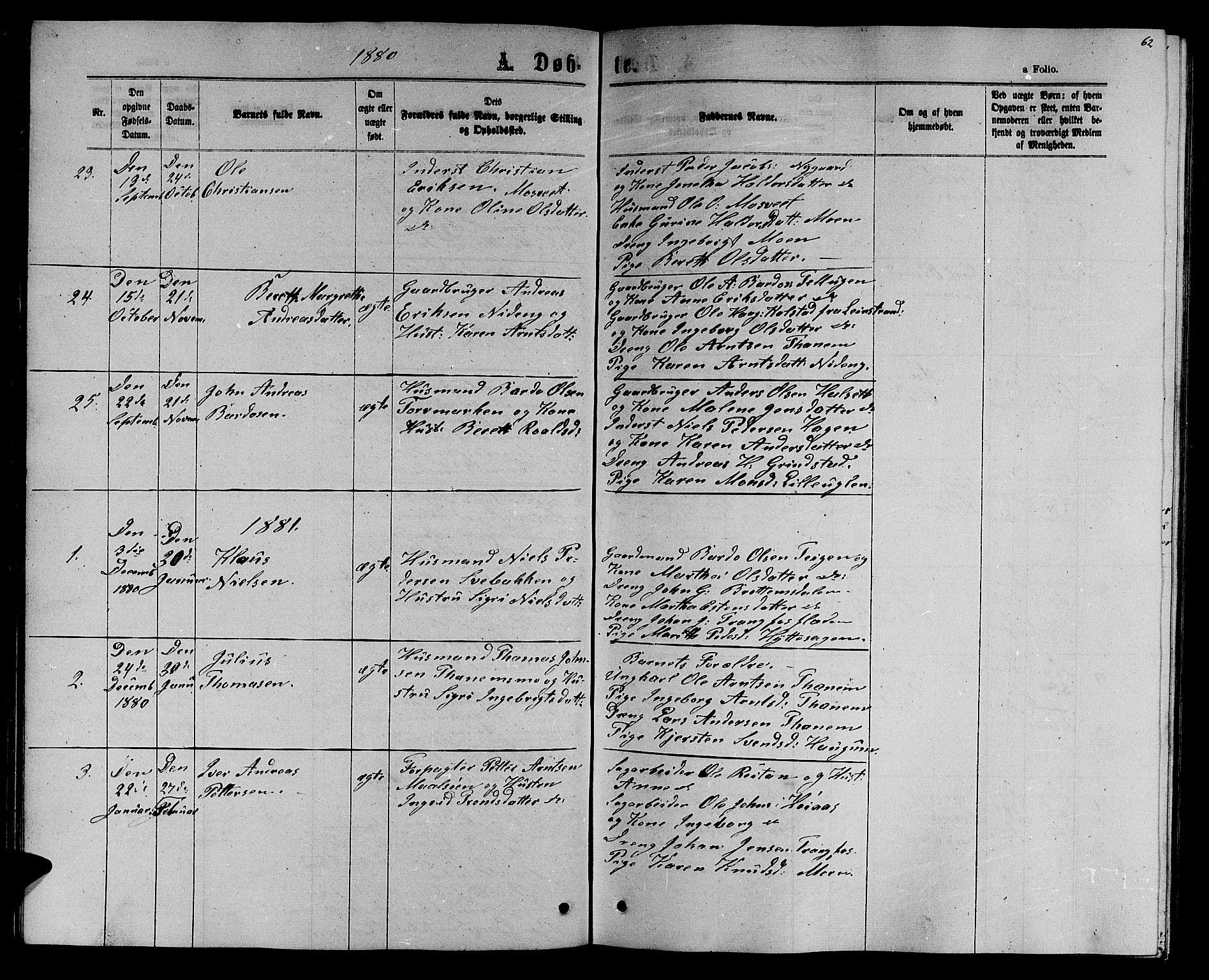 SAT, Ministerialprotokoller, klokkerbøker og fødselsregistre - Sør-Trøndelag, 618/L0451: Klokkerbok nr. 618C02, 1865-1883, s. 62