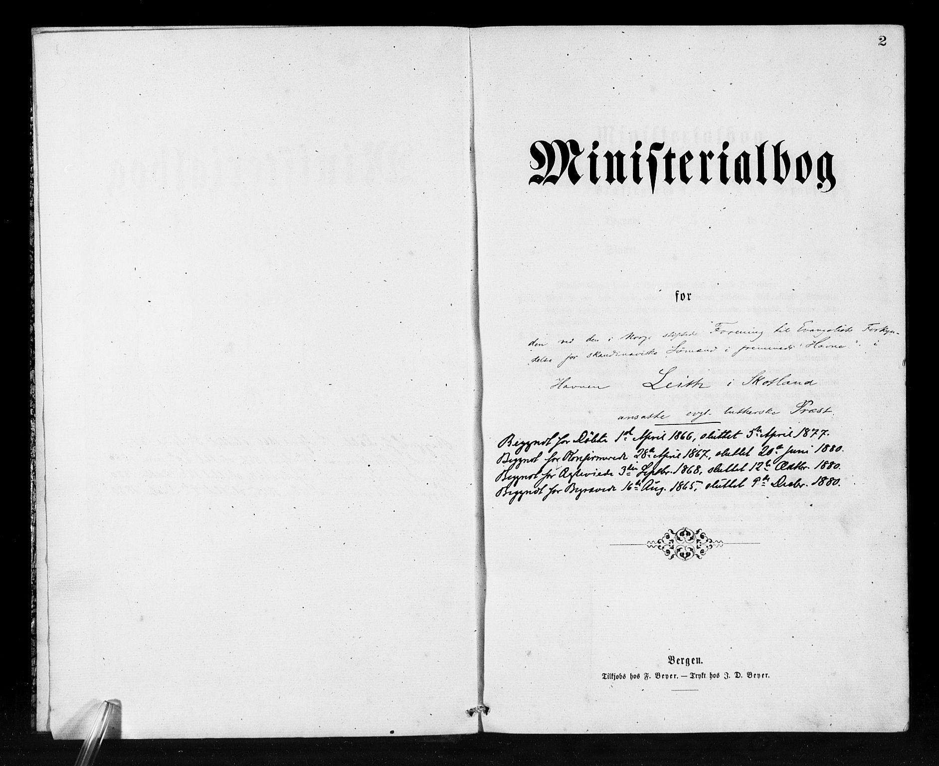 SAB, Den Norske Sjømannsmisjon i utlandet*, Ministerialbok nr. A 1, 1865-1880, s. 2