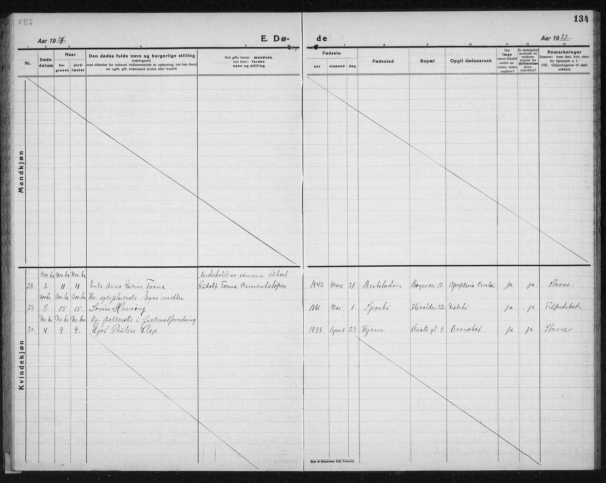 SAT, Ministerialprotokoller, klokkerbøker og fødselsregistre - Sør-Trøndelag, 603/L0176: Klokkerbok nr. 603C04, 1923-1941, s. 134