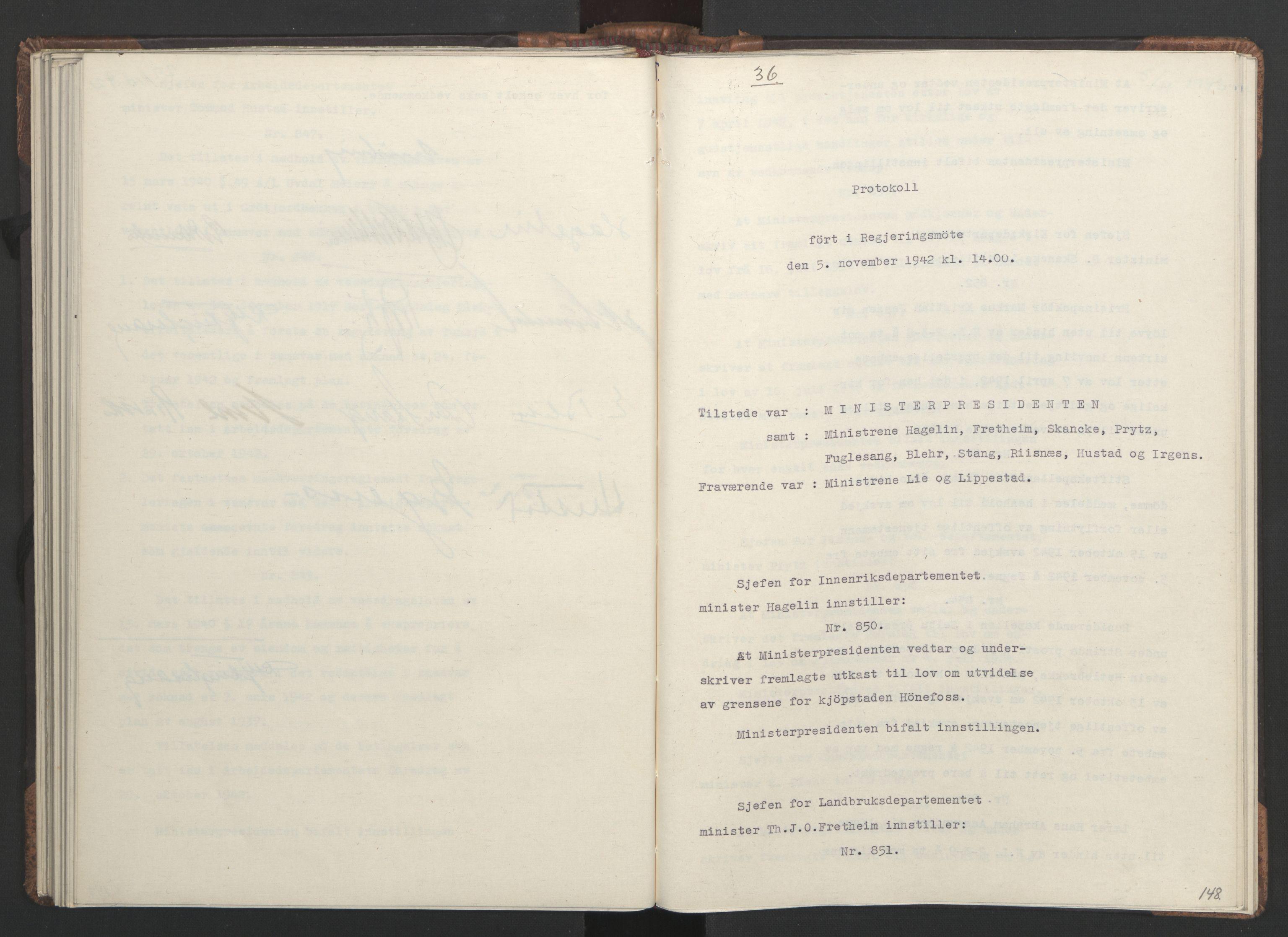 RA, NS-administrasjonen 1940-1945 (Statsrådsekretariatet, de kommisariske statsråder mm), D/Da/L0001: Beslutninger og tillegg (1-952 og 1-32), 1942, s. 147b-148a