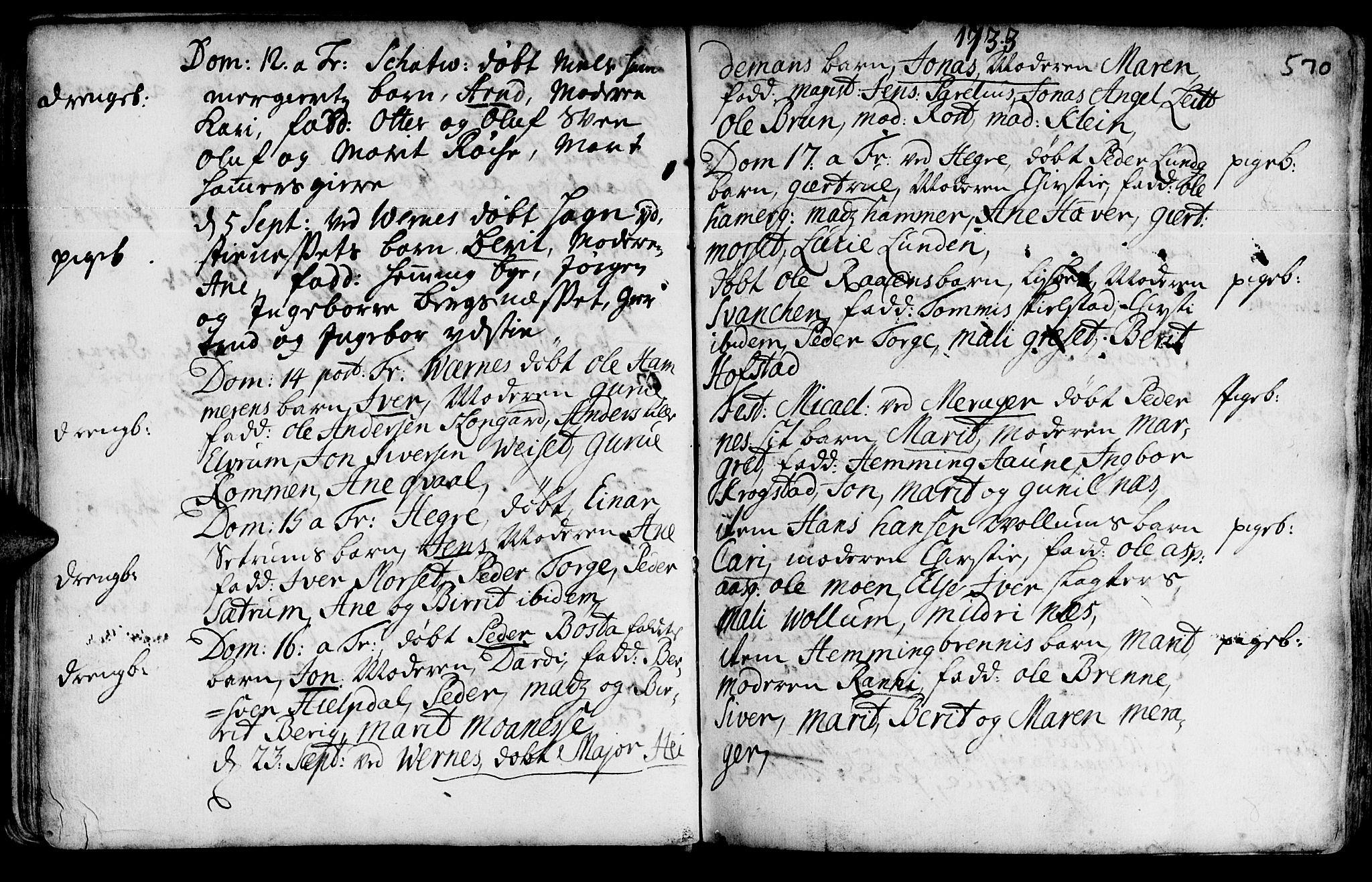 SAT, Ministerialprotokoller, klokkerbøker og fødselsregistre - Nord-Trøndelag, 709/L0055: Ministerialbok nr. 709A03, 1730-1739, s. 569-570