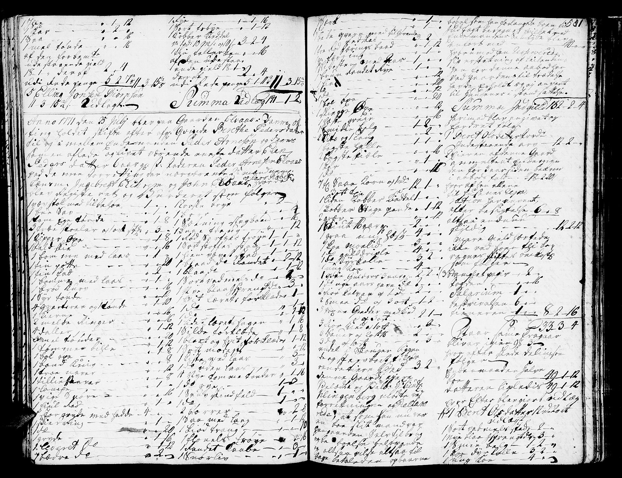SAT, Romsdal sorenskriveri, 3/3A/L0009: Skifteprotokoll, 1761-1773, s. 580b-581a