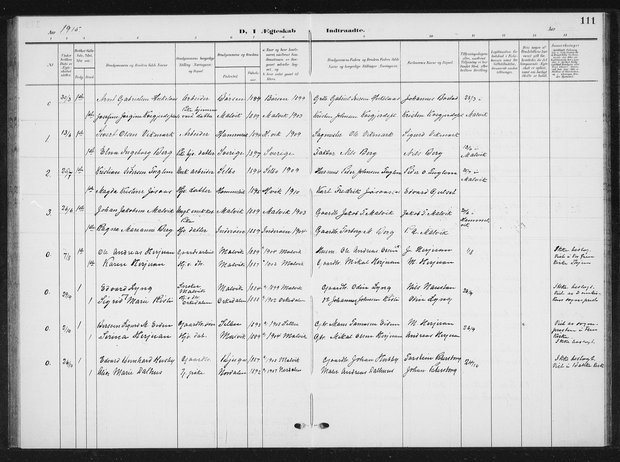 SAT, Ministerialprotokoller, klokkerbøker og fødselsregistre - Sør-Trøndelag, 616/L0424: Klokkerbok nr. 616C07, 1904-1940, s. 111