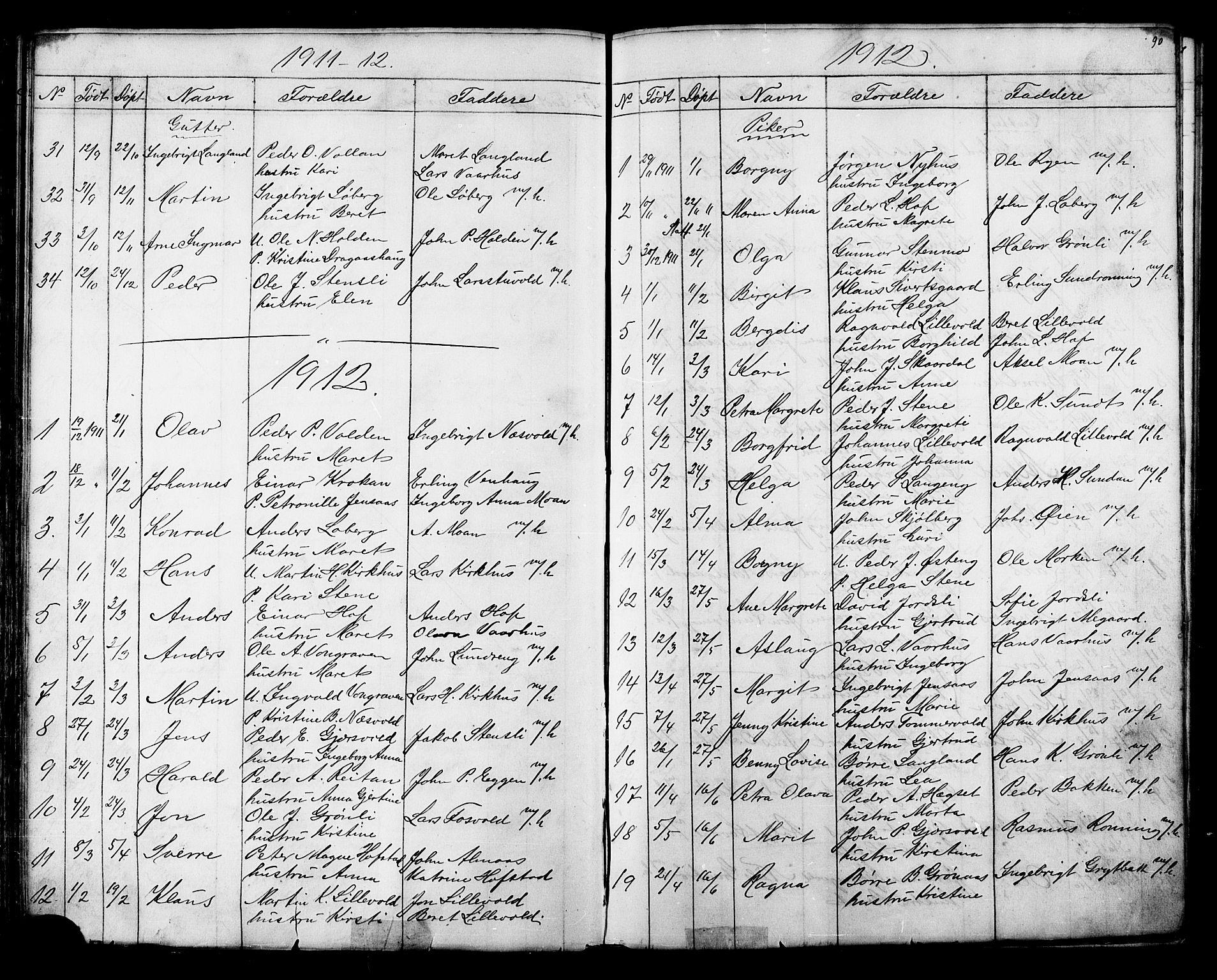 SAT, Ministerialprotokoller, klokkerbøker og fødselsregistre - Sør-Trøndelag, 686/L0985: Klokkerbok nr. 686C01, 1871-1933, s. 90