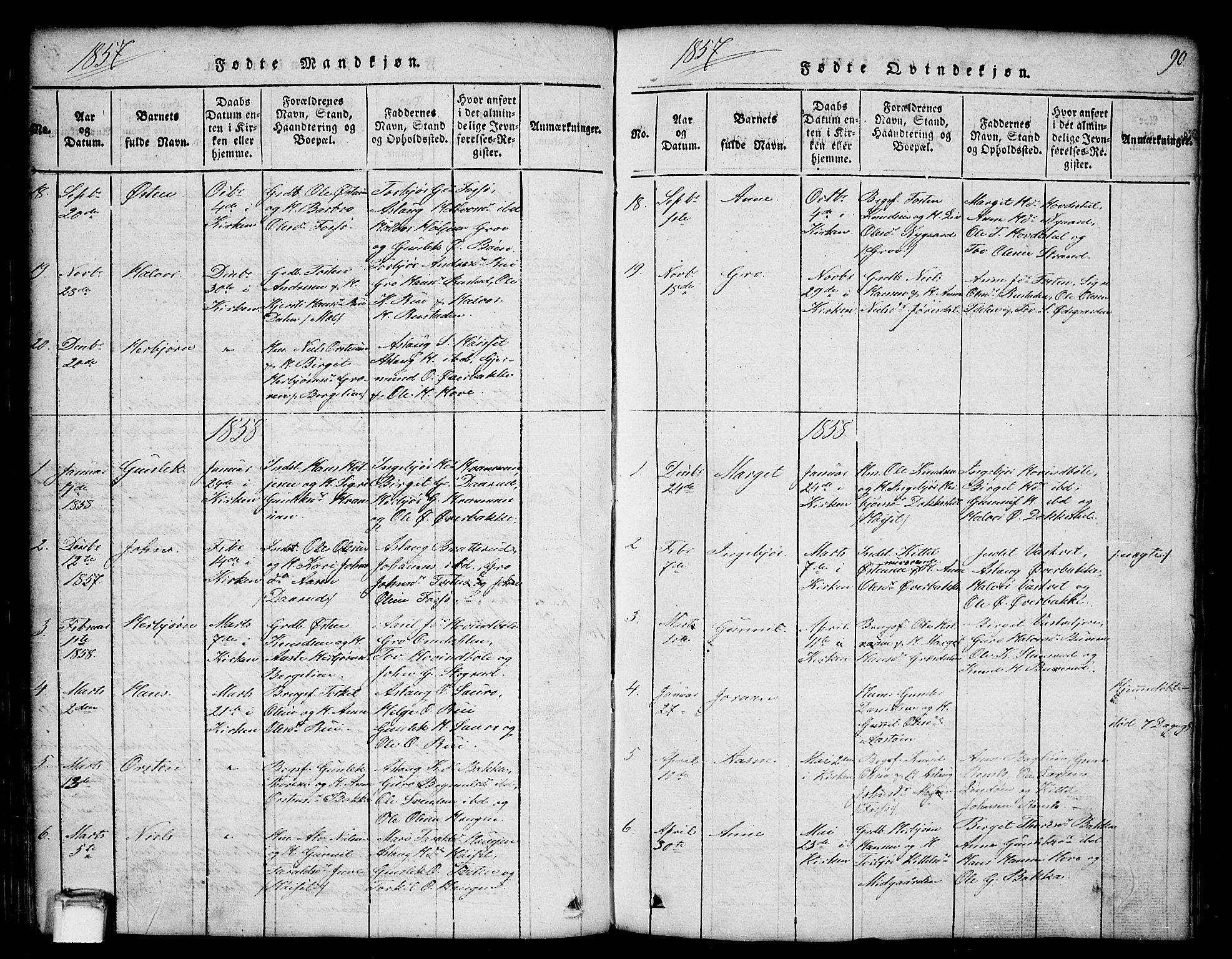 SAKO, Gransherad kirkebøker, G/Gb/L0001: Klokkerbok nr. II 1, 1815-1860, s. 90