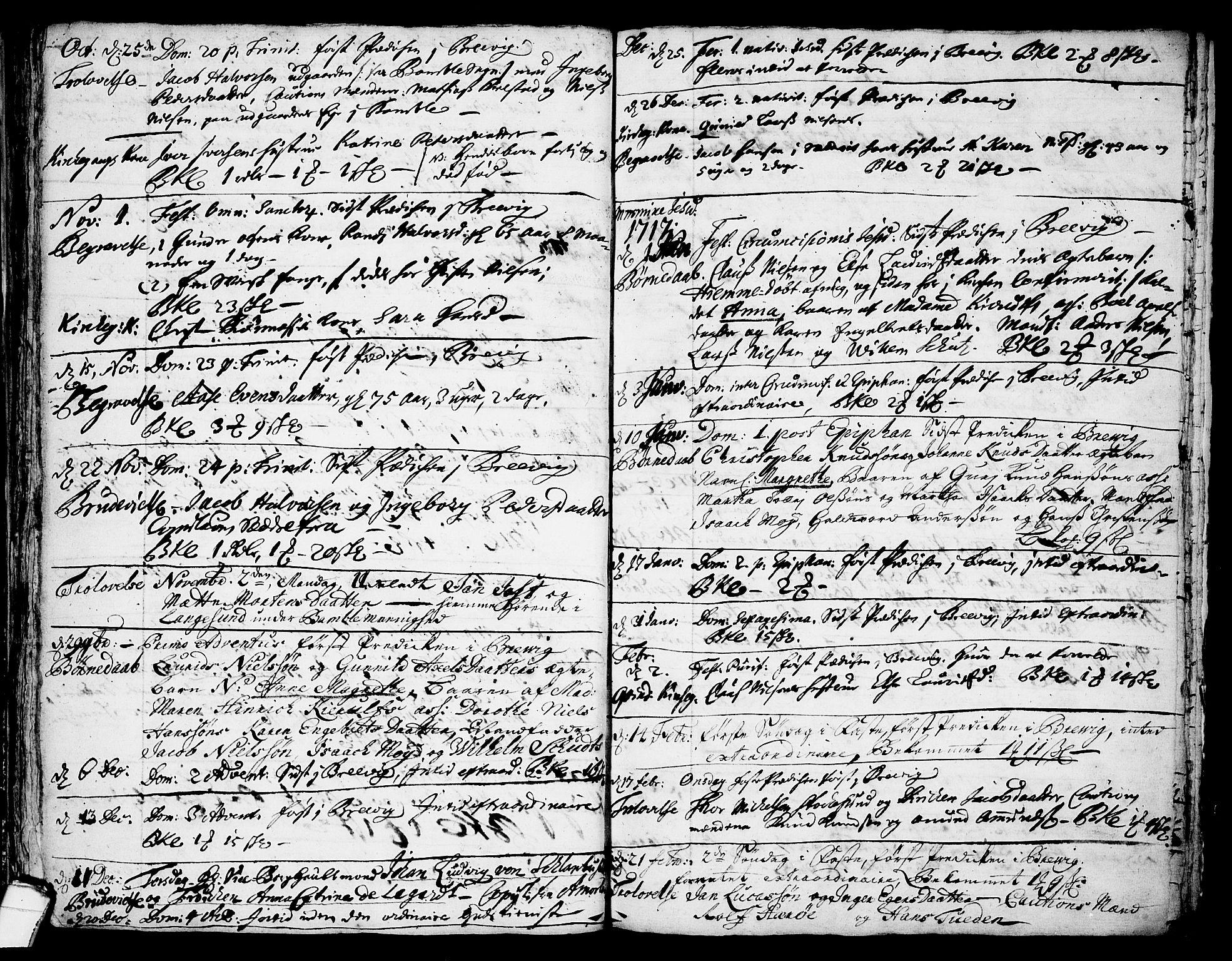 SAKO, Brevik kirkebøker, F/Fa/L0001: Ministerialbok nr. 1, 1706-1719