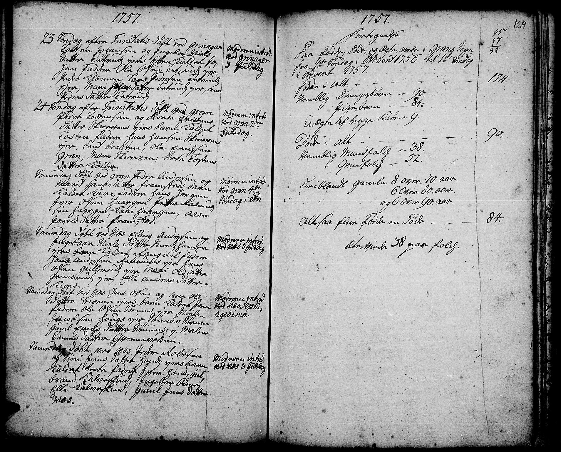 SAH, Gran prestekontor, Ministerialbok nr. 3, 1745-1758, s. 129