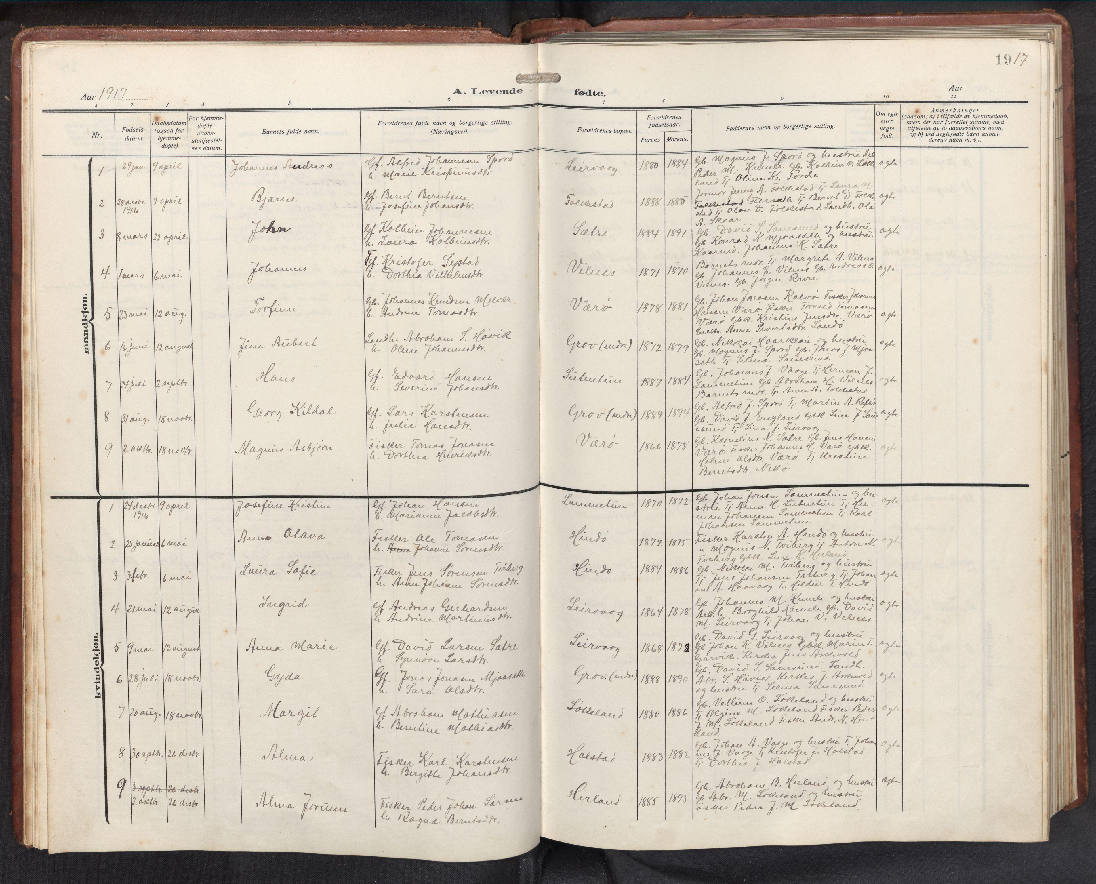 SAB, Askvoll sokneprestembete, H/Hab/Habb/L0002: Klokkerbok nr. B 2, 1910-1947, s. 18b-19a