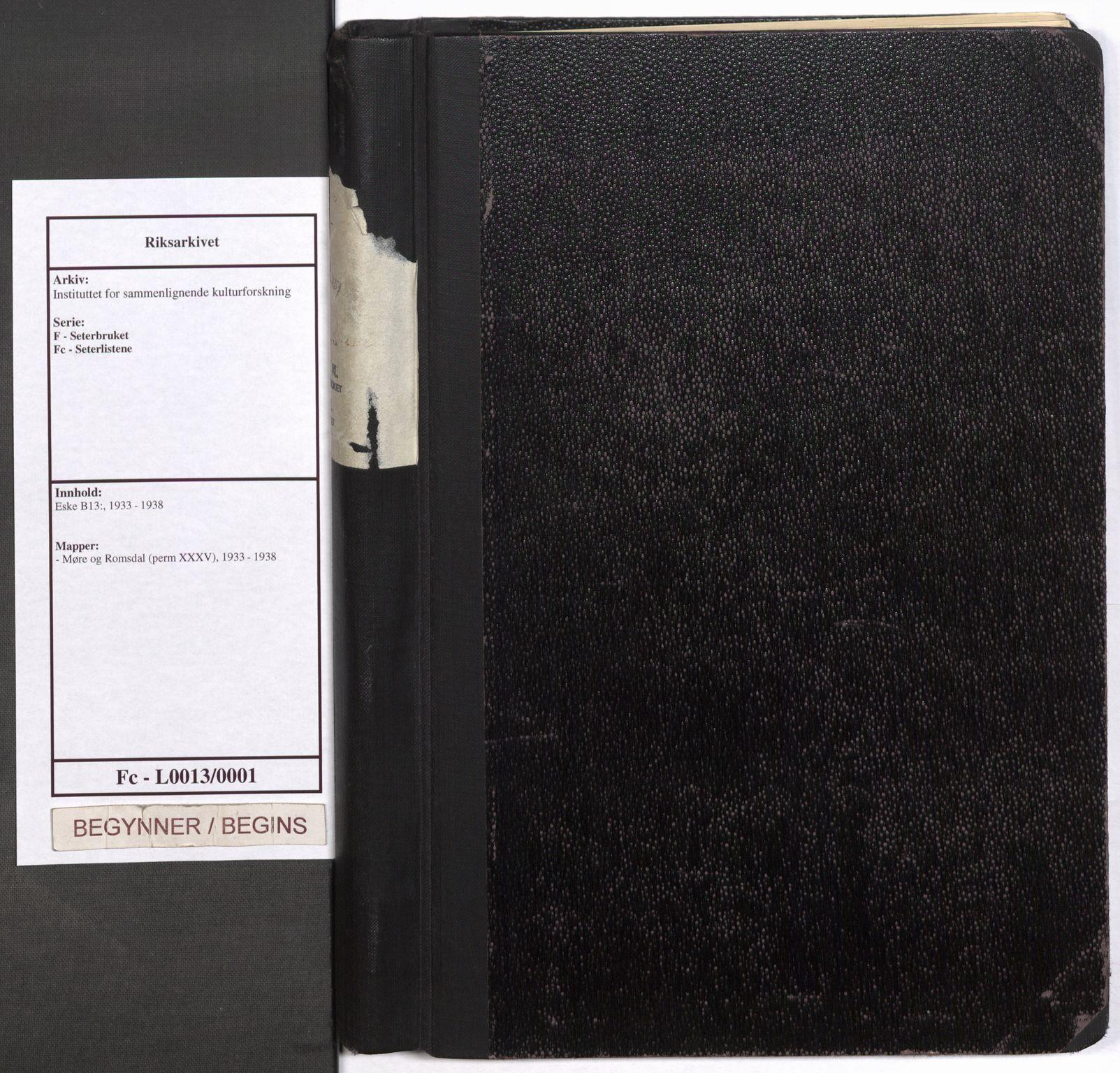 RA, Instituttet for sammenlignende kulturforskning, F/Fc/L0013: Eske B13:, 1933-1938, s. upaginert