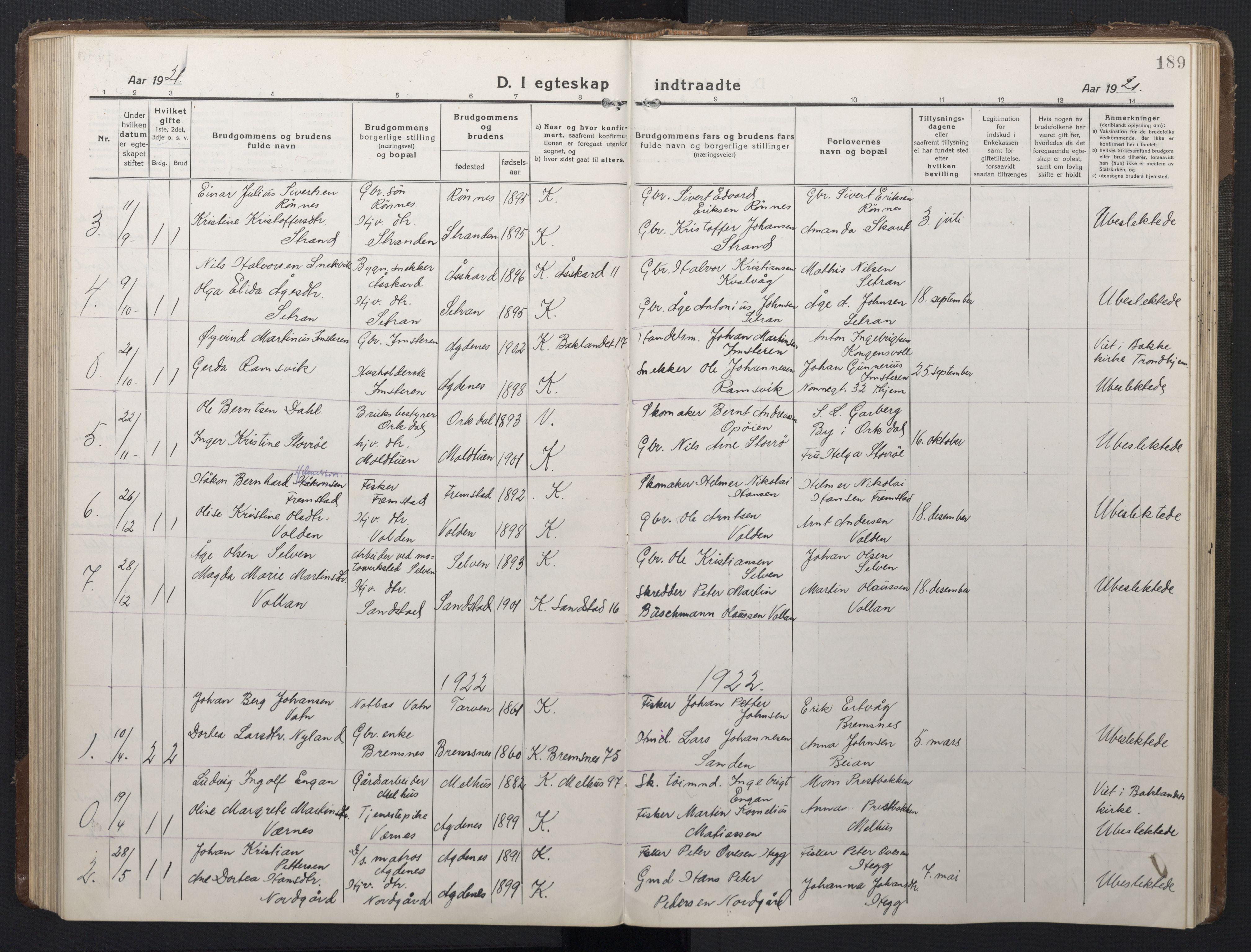 SAT, Ministerialprotokoller, klokkerbøker og fødselsregistre - Sør-Trøndelag, 662/L0758: Klokkerbok nr. 662C03, 1918-1948, s. 189