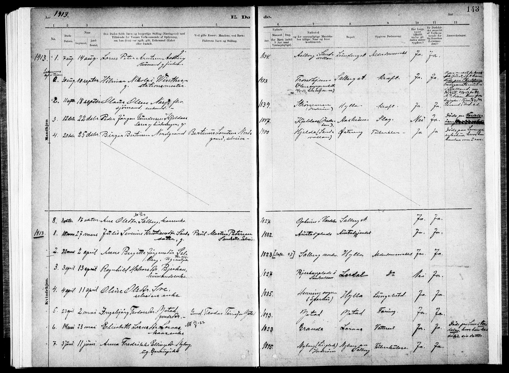 SAT, Ministerialprotokoller, klokkerbøker og fødselsregistre - Nord-Trøndelag, 731/L0309: Ministerialbok nr. 731A01, 1879-1918, s. 143