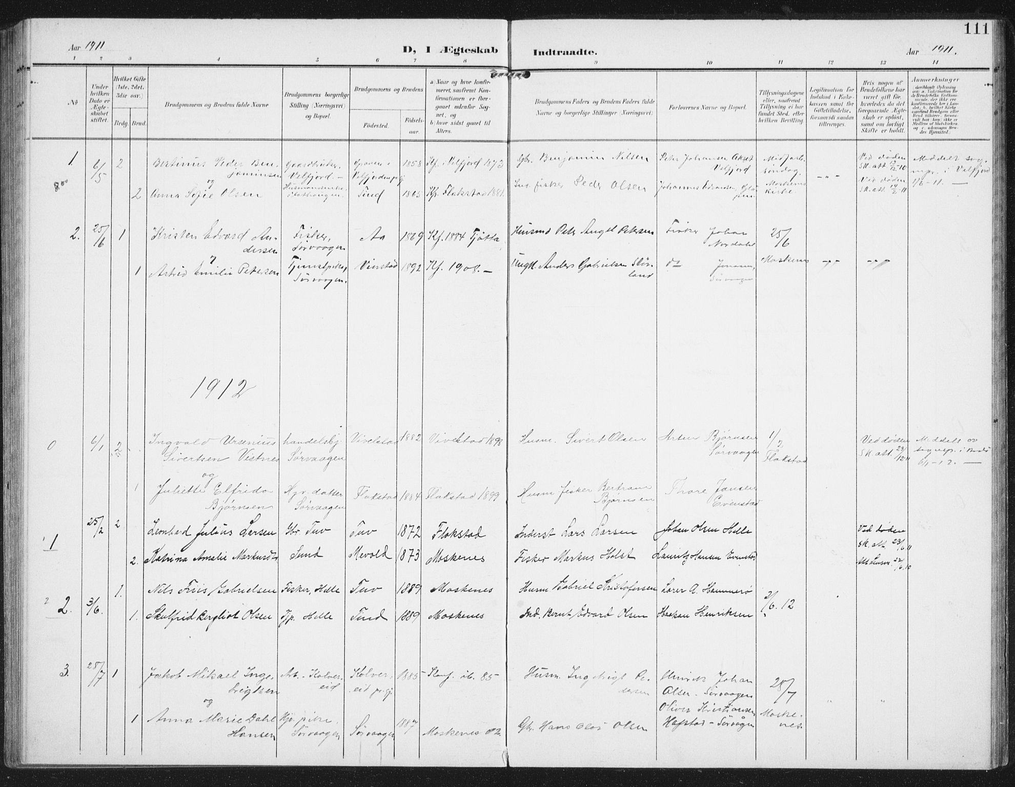 SAT, Ministerialprotokoller, klokkerbøker og fødselsregistre - Nordland, 886/L1221: Ministerialbok nr. 886A03, 1903-1913, s. 111