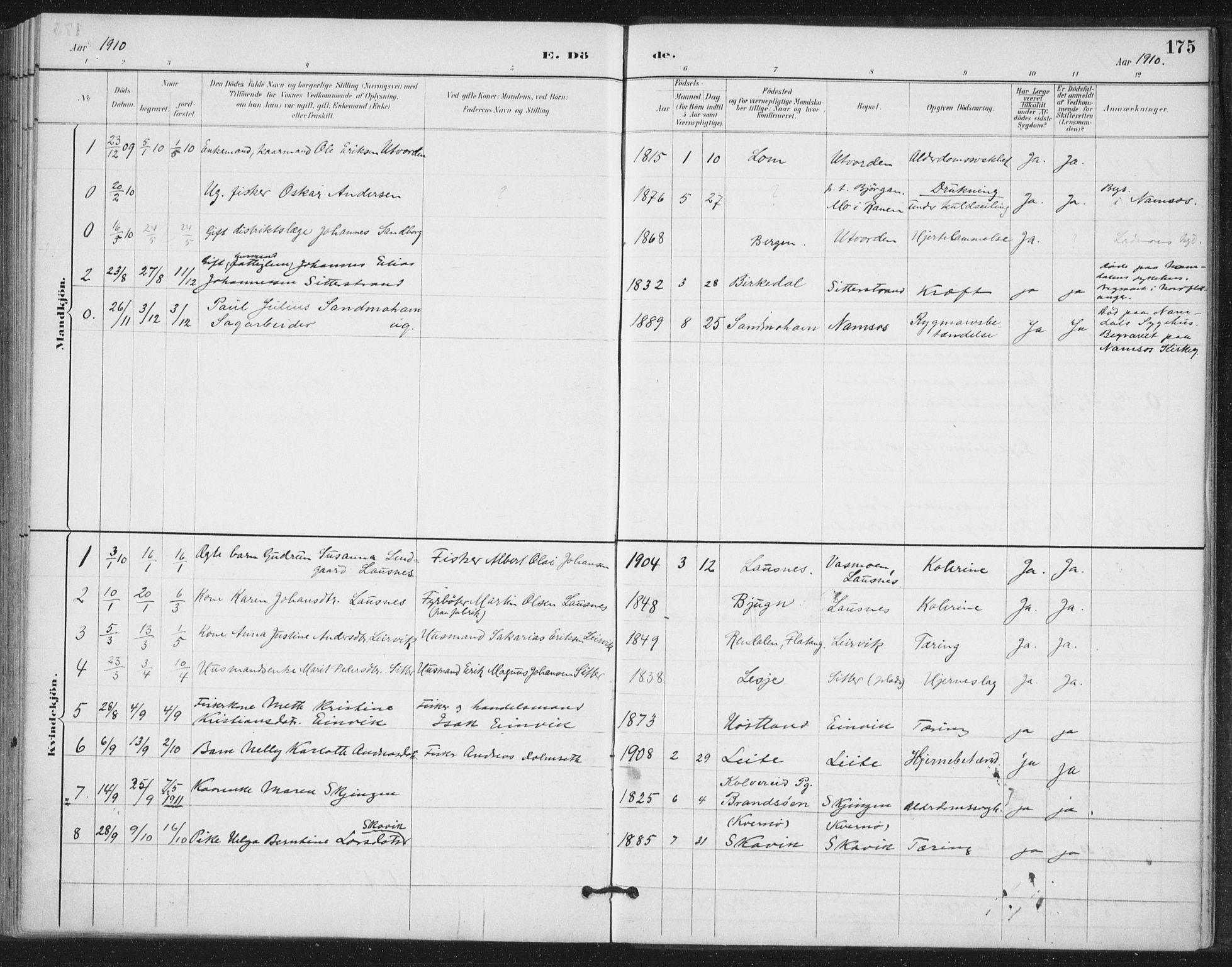 SAT, Ministerialprotokoller, klokkerbøker og fødselsregistre - Nord-Trøndelag, 772/L0603: Ministerialbok nr. 772A01, 1885-1912, s. 175