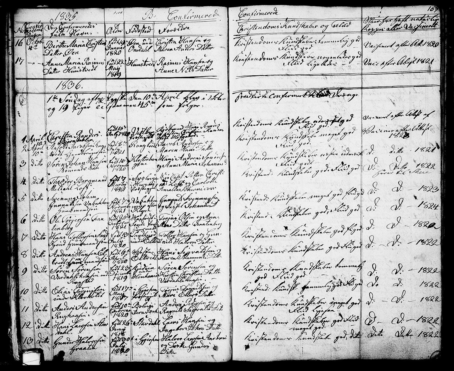 SAKO, Solum kirkebøker, G/Ga/L0002: Klokkerbok nr. I 2, 1834-1848, s. 157