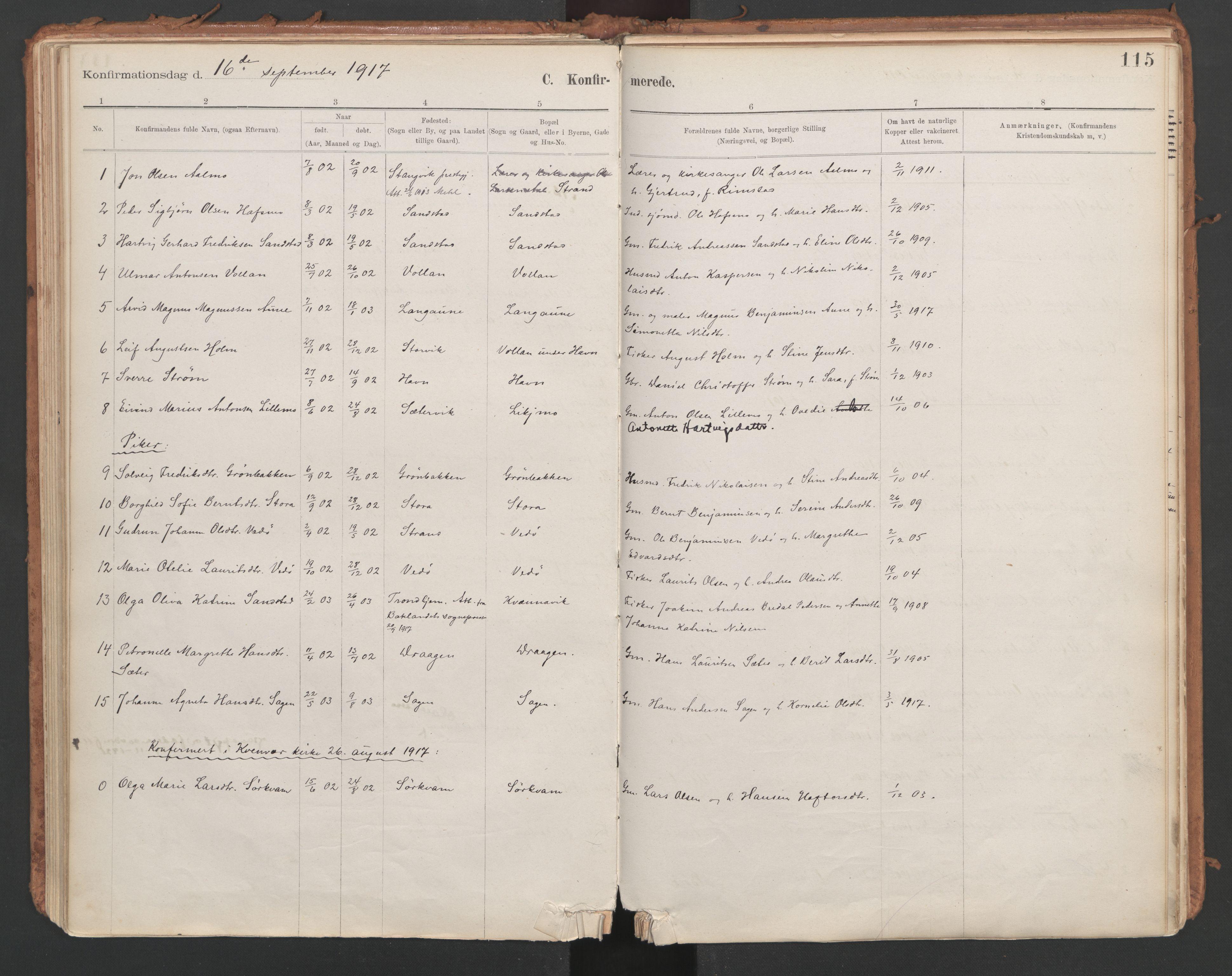 SAT, Ministerialprotokoller, klokkerbøker og fødselsregistre - Sør-Trøndelag, 639/L0572: Ministerialbok nr. 639A01, 1890-1920, s. 115