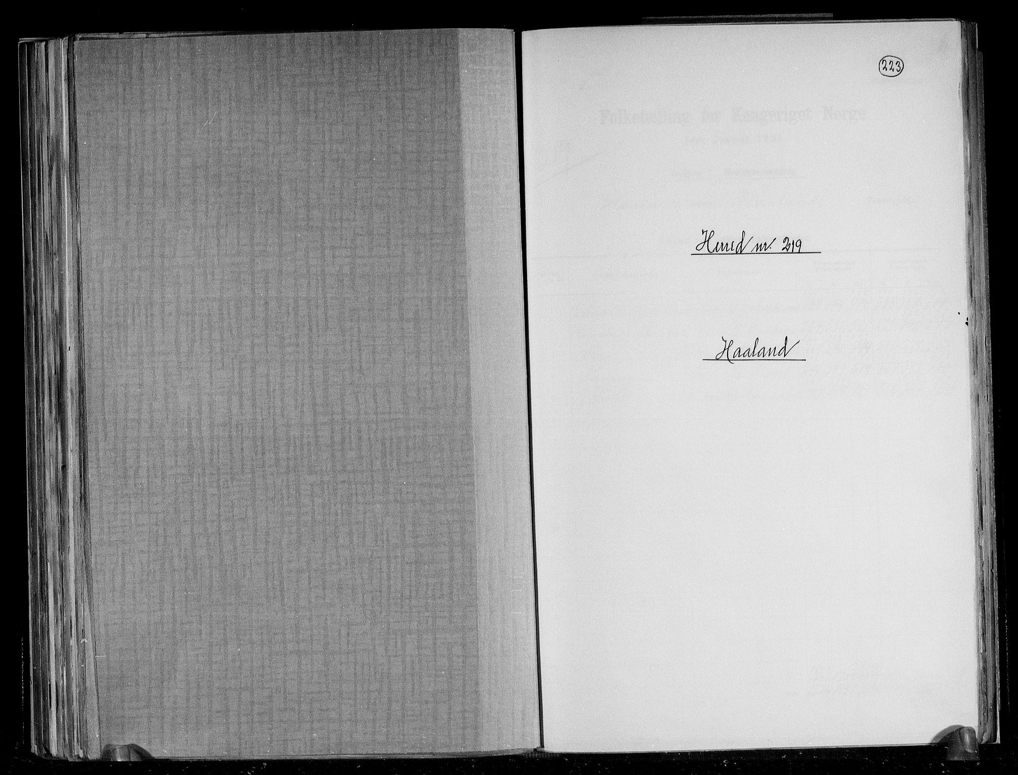 RA, Folketelling 1891 for 1124 Haaland herred, 1891, s. 1