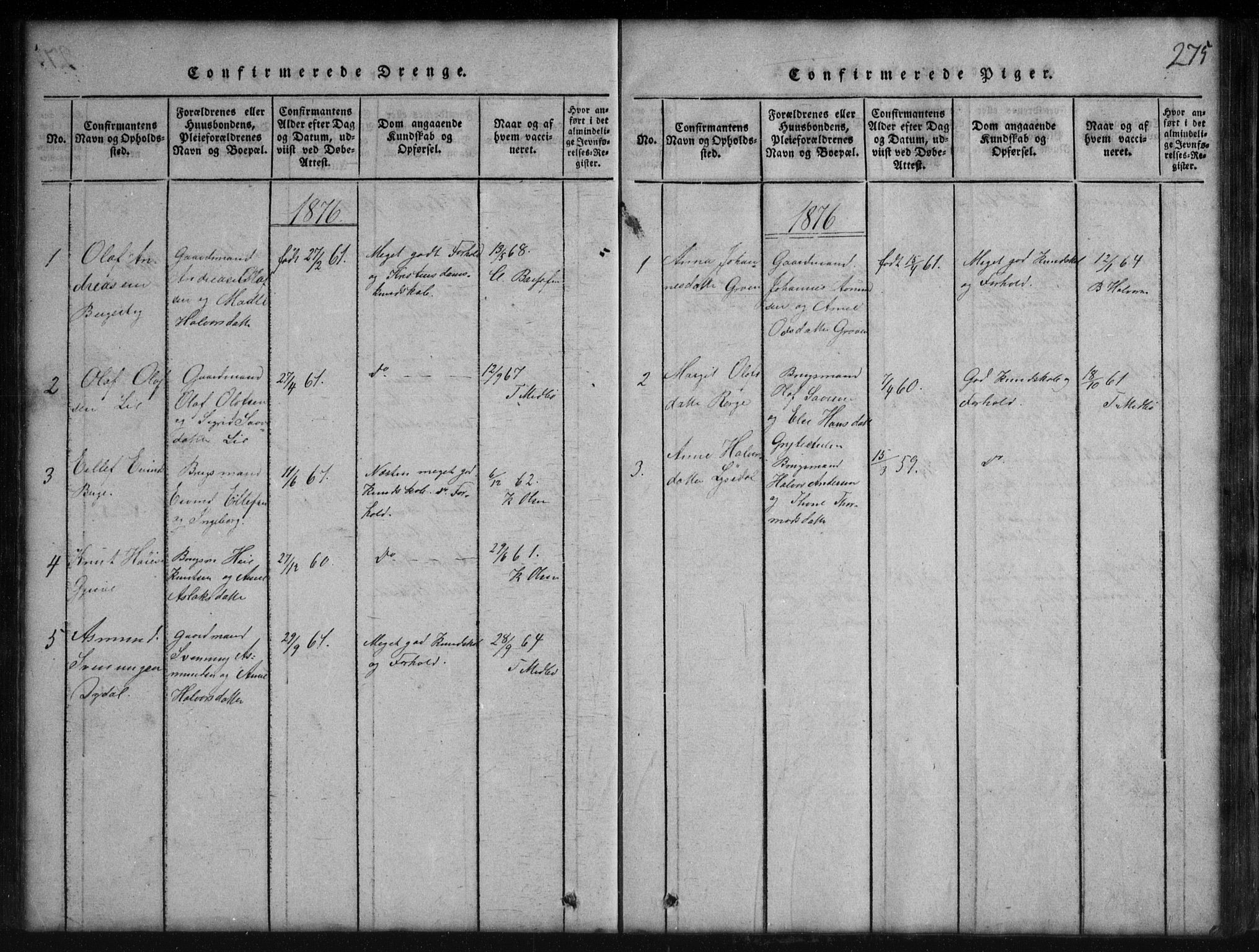 SAKO, Rauland kirkebøker, G/Gb/L0001: Klokkerbok nr. II 1, 1815-1886, s. 275