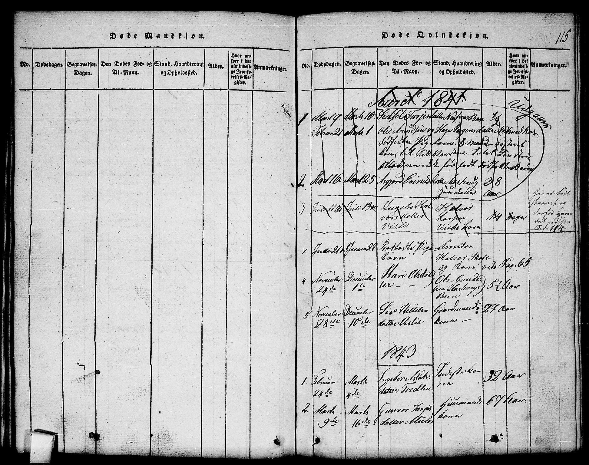 SAKO, Mo kirkebøker, G/Gb/L0001: Klokkerbok nr. II 1, 1814-1843, s. 115