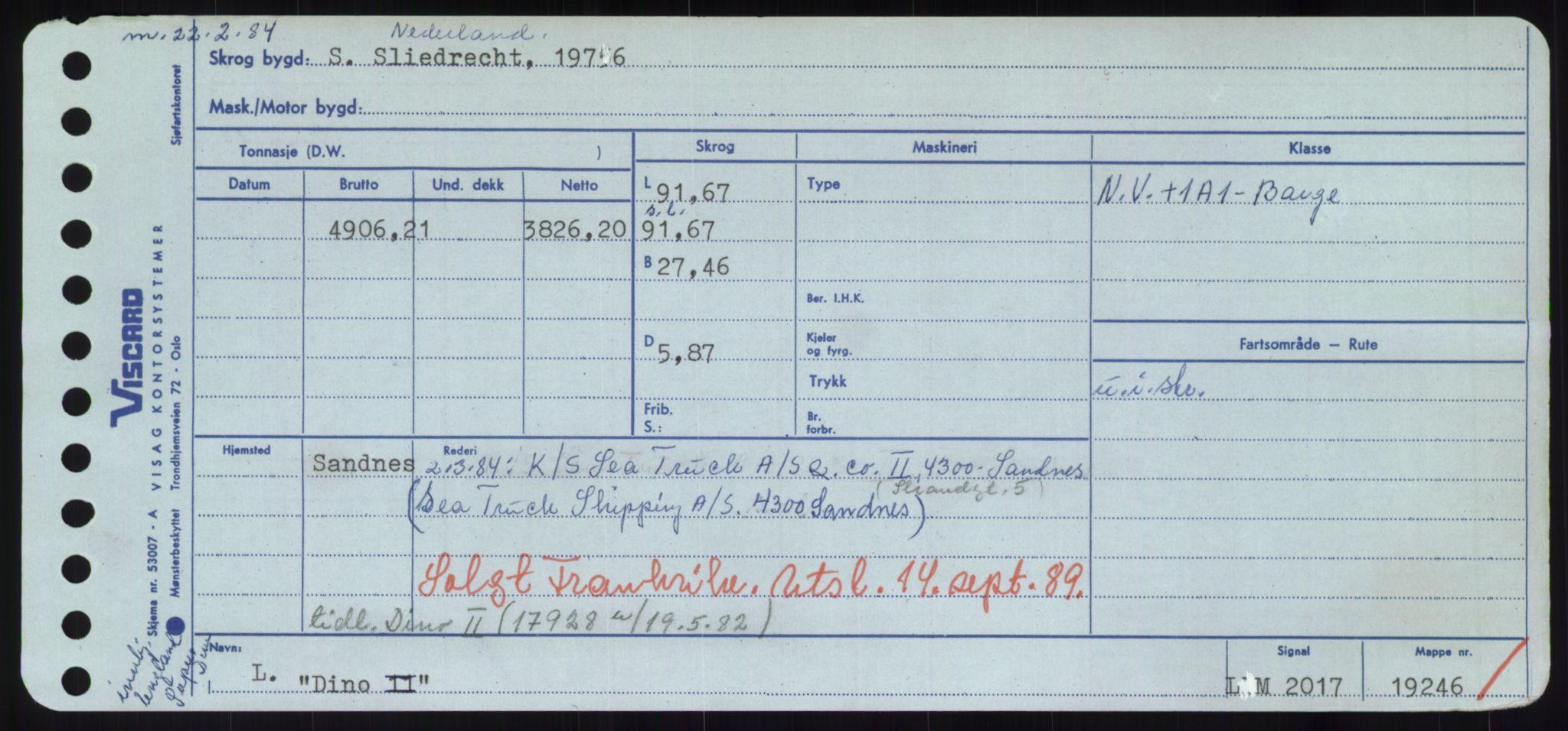 RA, Sjøfartsdirektoratet med forløpere, Skipsmålingen, H/Hd/L0008: Fartøy, C-D, s. 497
