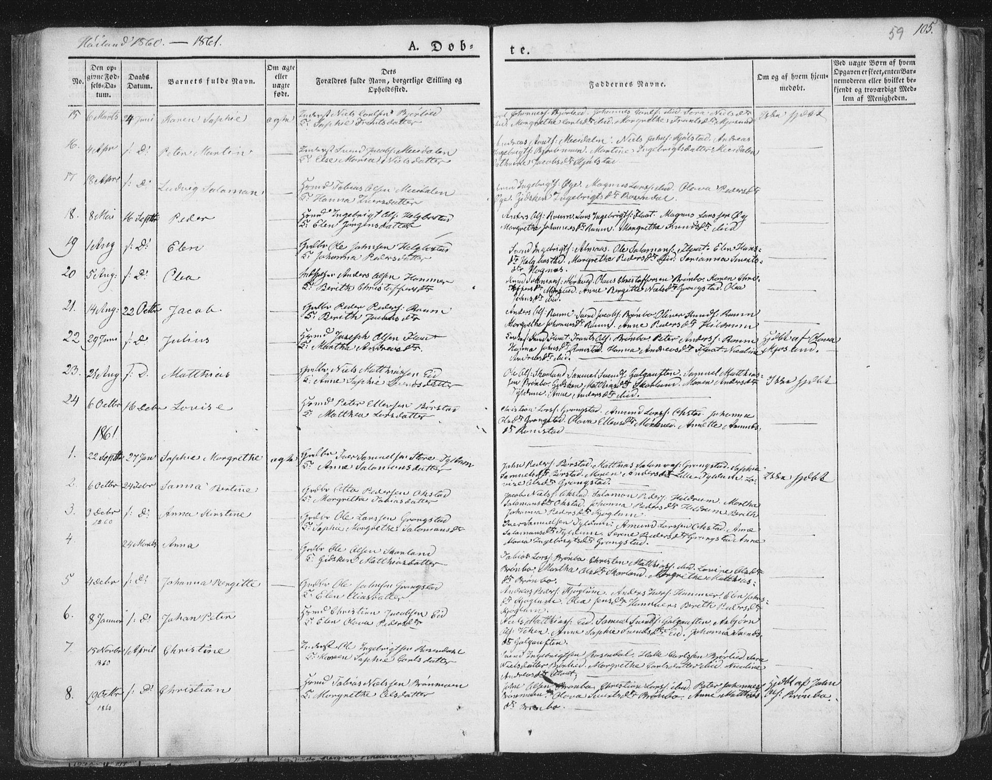 SAT, Ministerialprotokoller, klokkerbøker og fødselsregistre - Nord-Trøndelag, 758/L0513: Ministerialbok nr. 758A02 /2, 1839-1868, s. 59