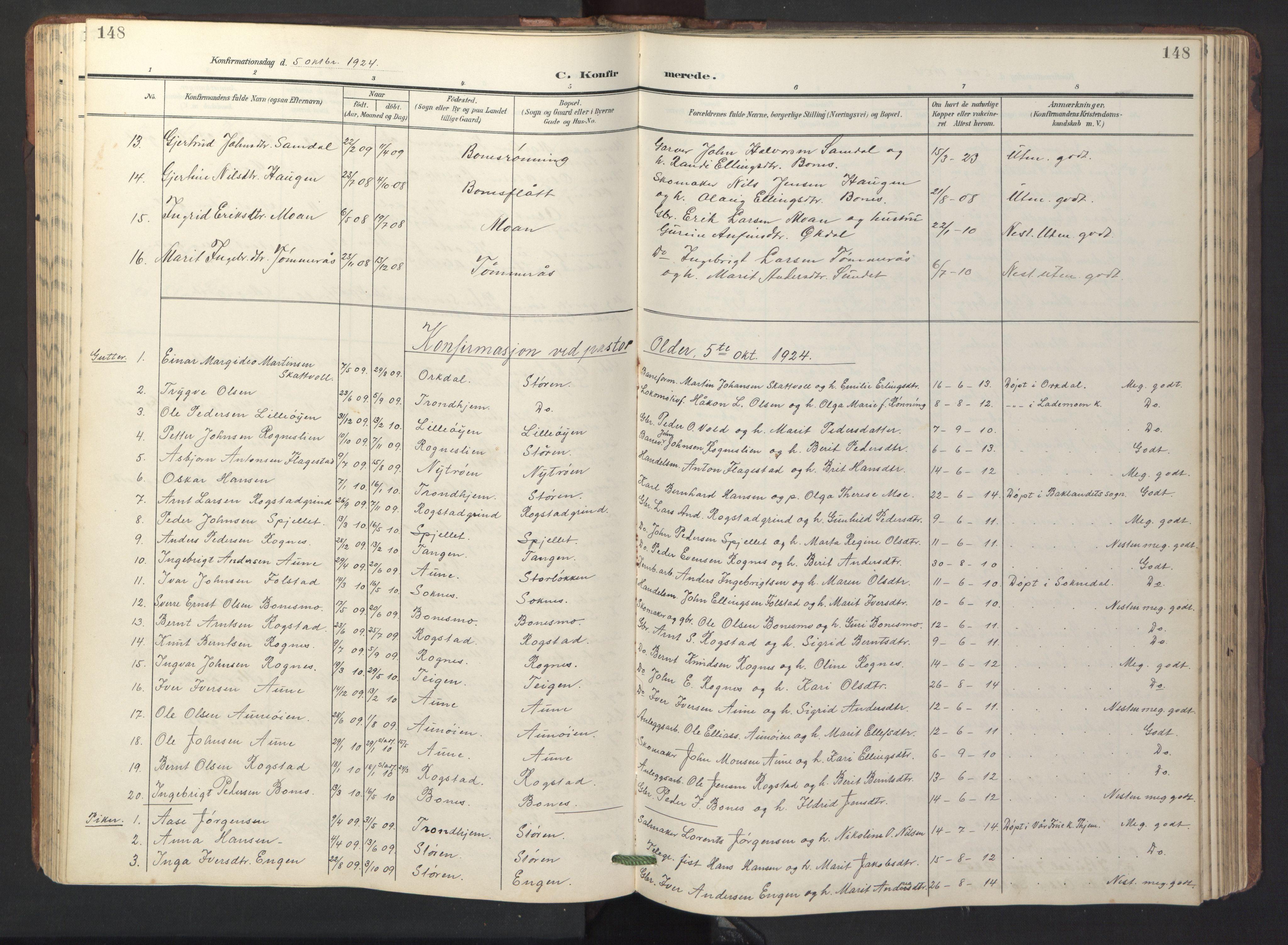 SAT, Ministerialprotokoller, klokkerbøker og fødselsregistre - Sør-Trøndelag, 687/L1019: Klokkerbok nr. 687C03, 1904-1931, s. 148