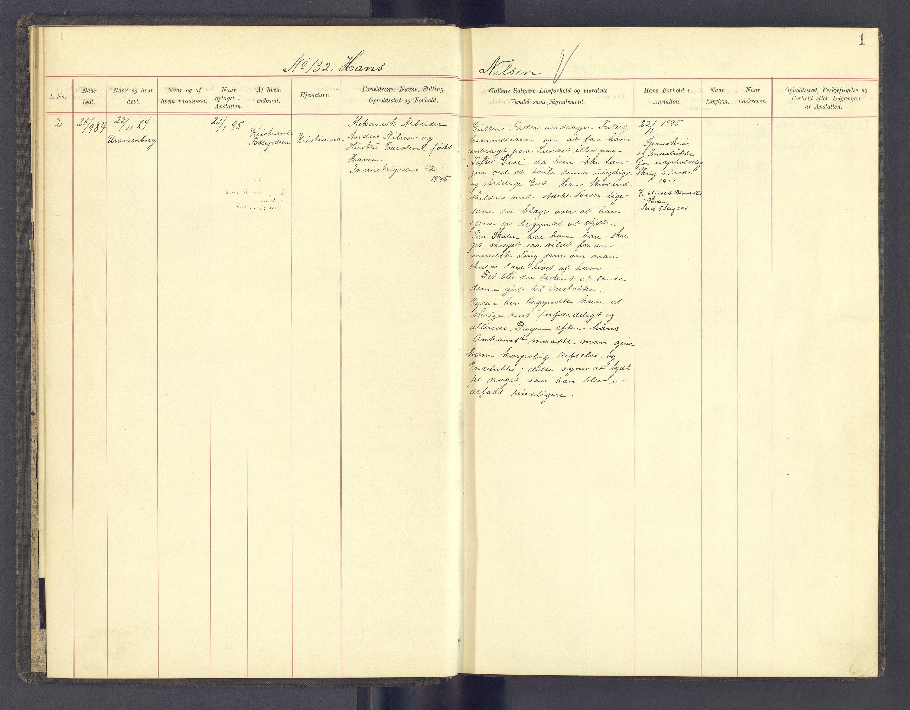 SAH, Toftes Gave, F/Fc/L0005: Elevprotokoll, 1897-1900, s. 1