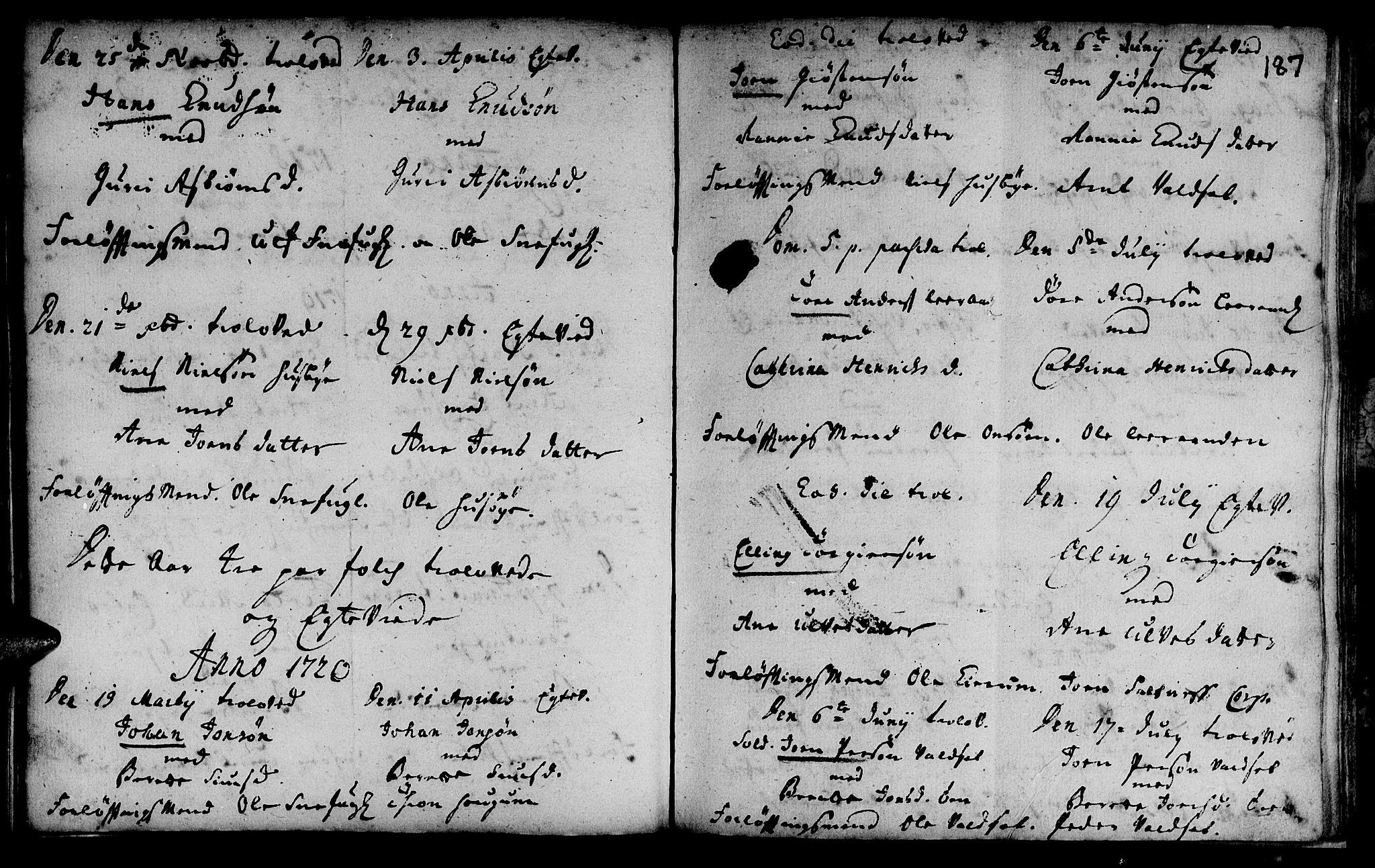 SAT, Ministerialprotokoller, klokkerbøker og fødselsregistre - Sør-Trøndelag, 666/L0783: Ministerialbok nr. 666A01, 1702-1753, s. 187