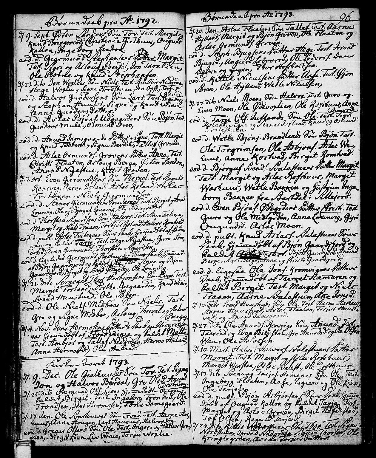 SAKO, Vinje kirkebøker, F/Fa/L0002: Ministerialbok nr. I 2, 1767-1814, s. 96