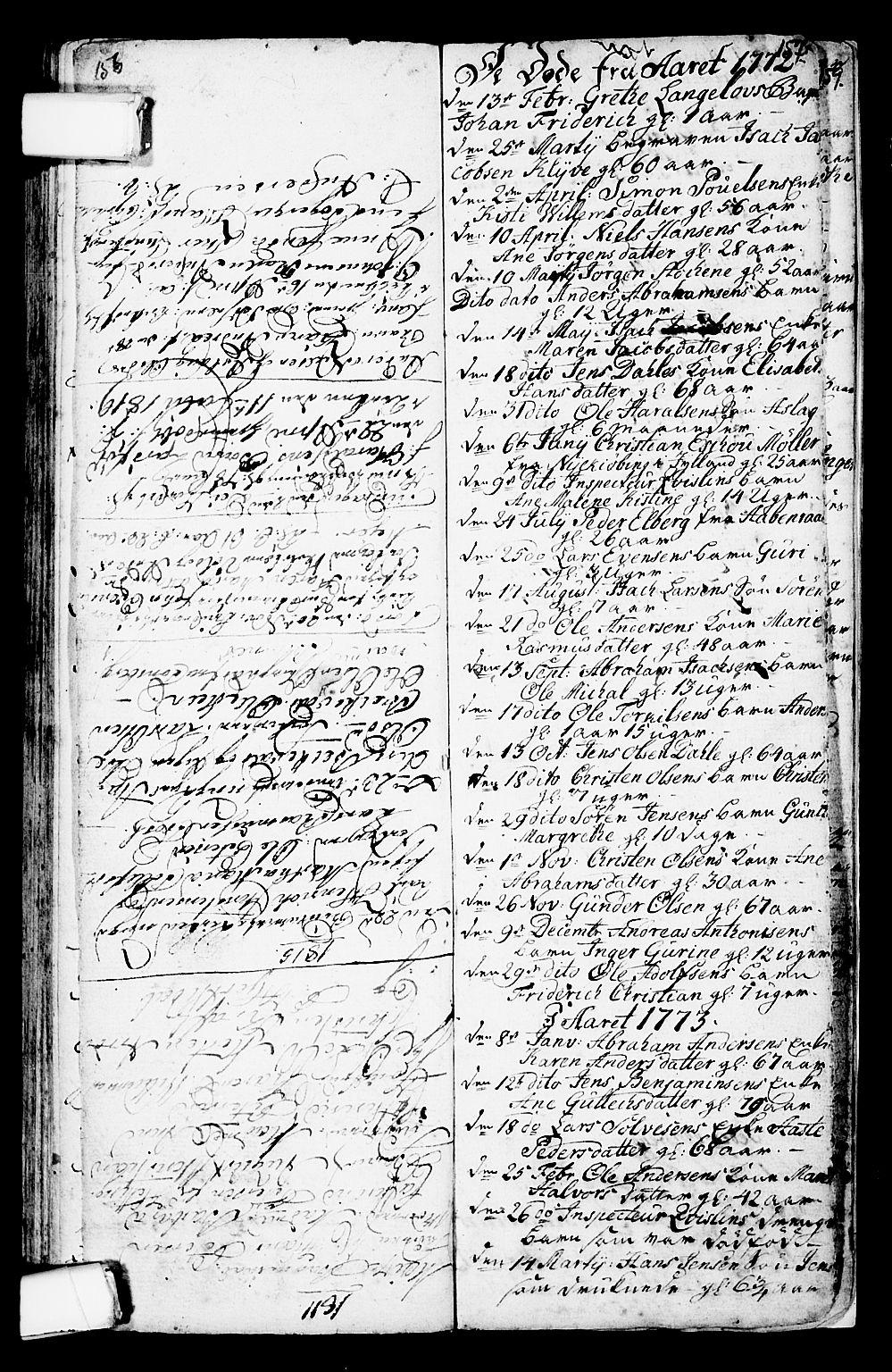 SAKO, Porsgrunn kirkebøker , G/Ga/L0001: Klokkerbok nr. I 1, 1766-1790, s. 156-157