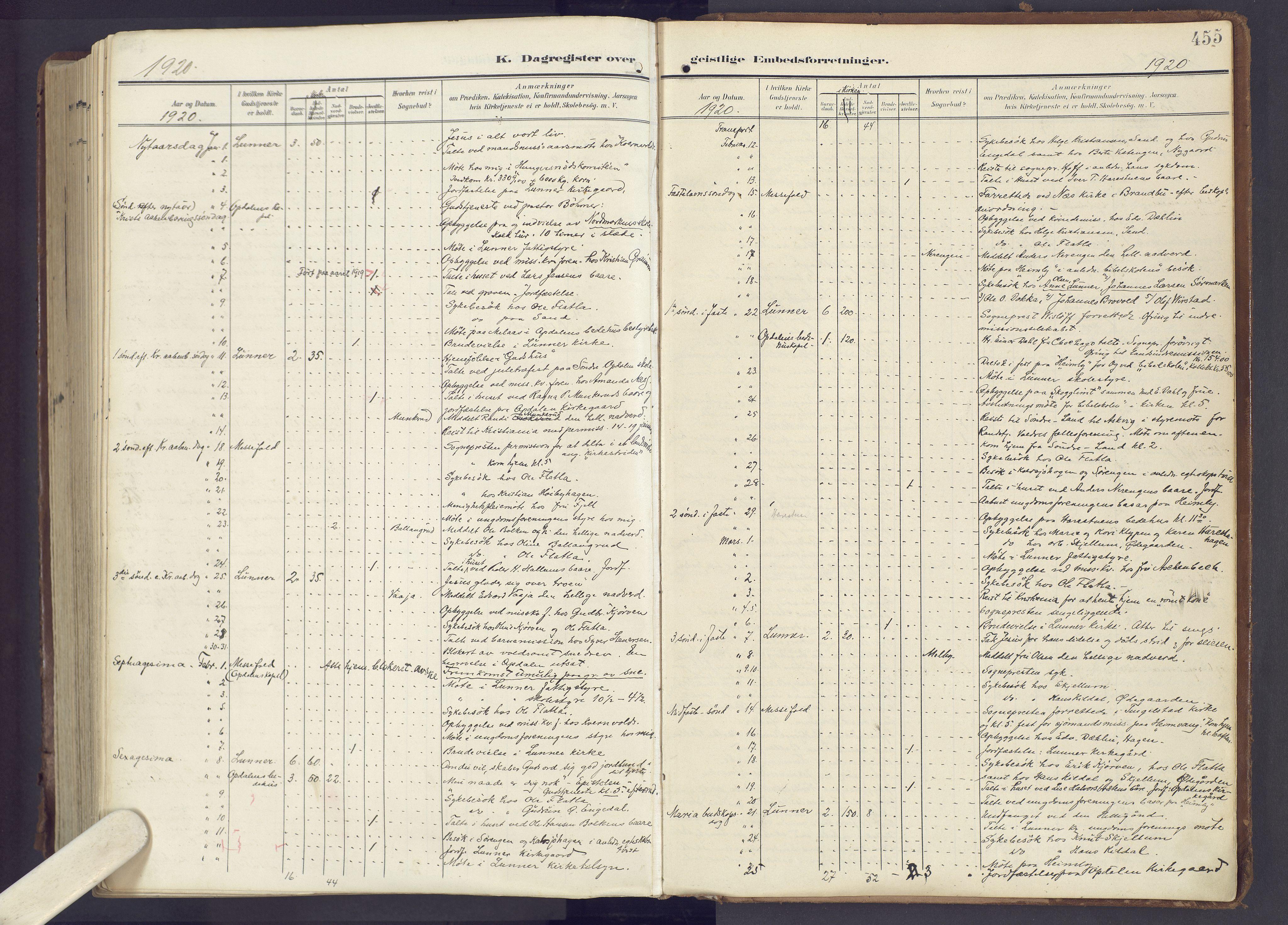 SAH, Lunner prestekontor, H/Ha/Haa/L0001: Ministerialbok nr. 1, 1907-1922, s. 455