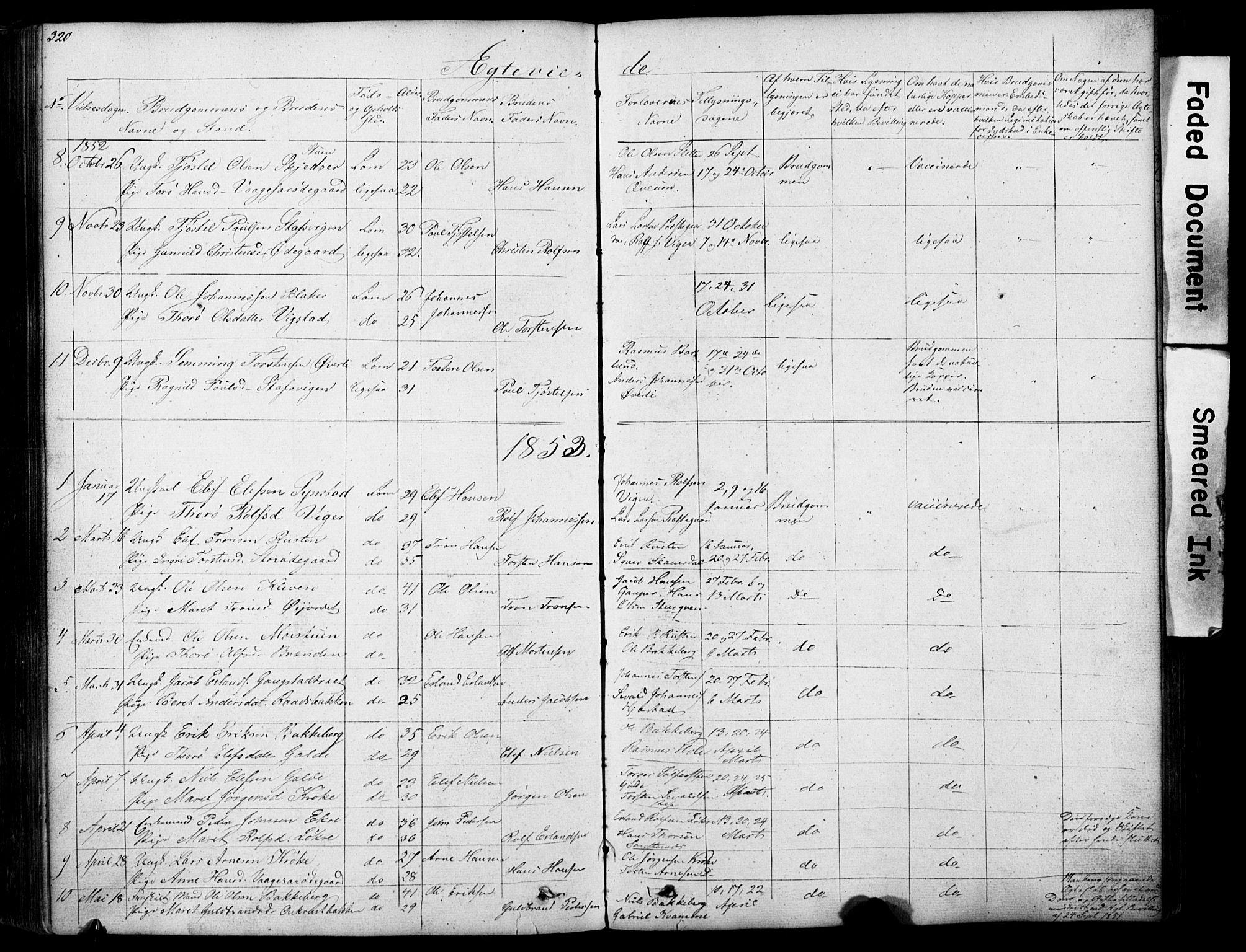 SAH, Lom prestekontor, L/L0012: Klokkerbok nr. 12, 1845-1873, s. 320-321