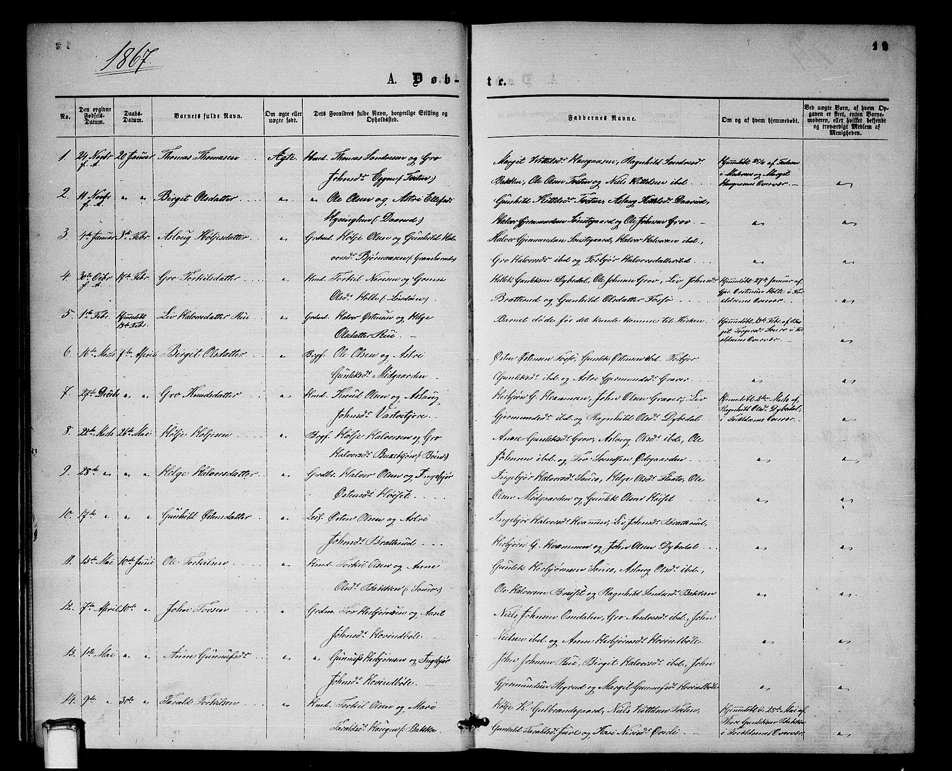 SAKO, Gransherad kirkebøker, G/Gb/L0002: Klokkerbok nr. II 2, 1860-1886, s. 12