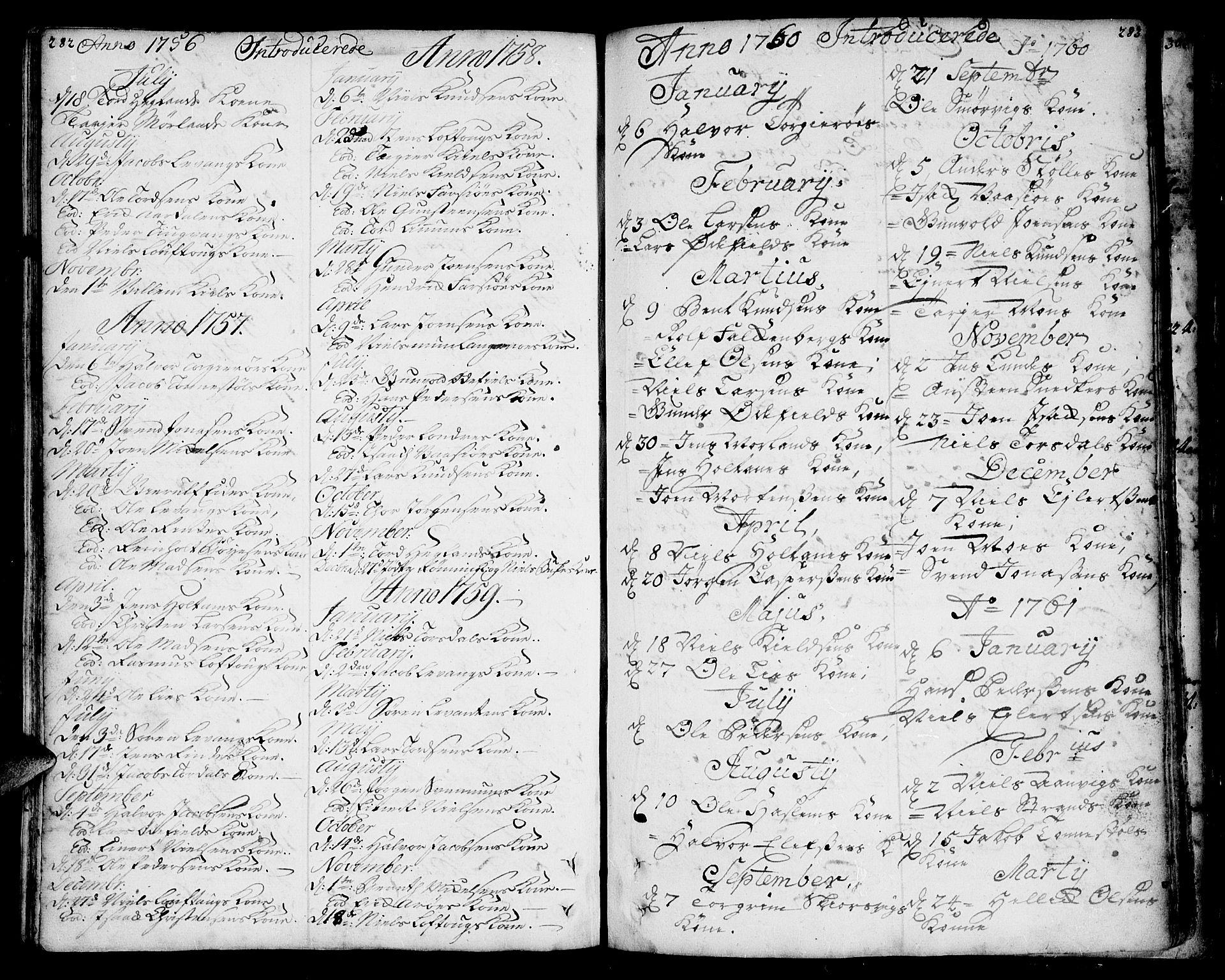SAKO, Sannidal kirkebøker, F/Fa/L0001: Ministerialbok nr. 1, 1702-1766, s. 282-283