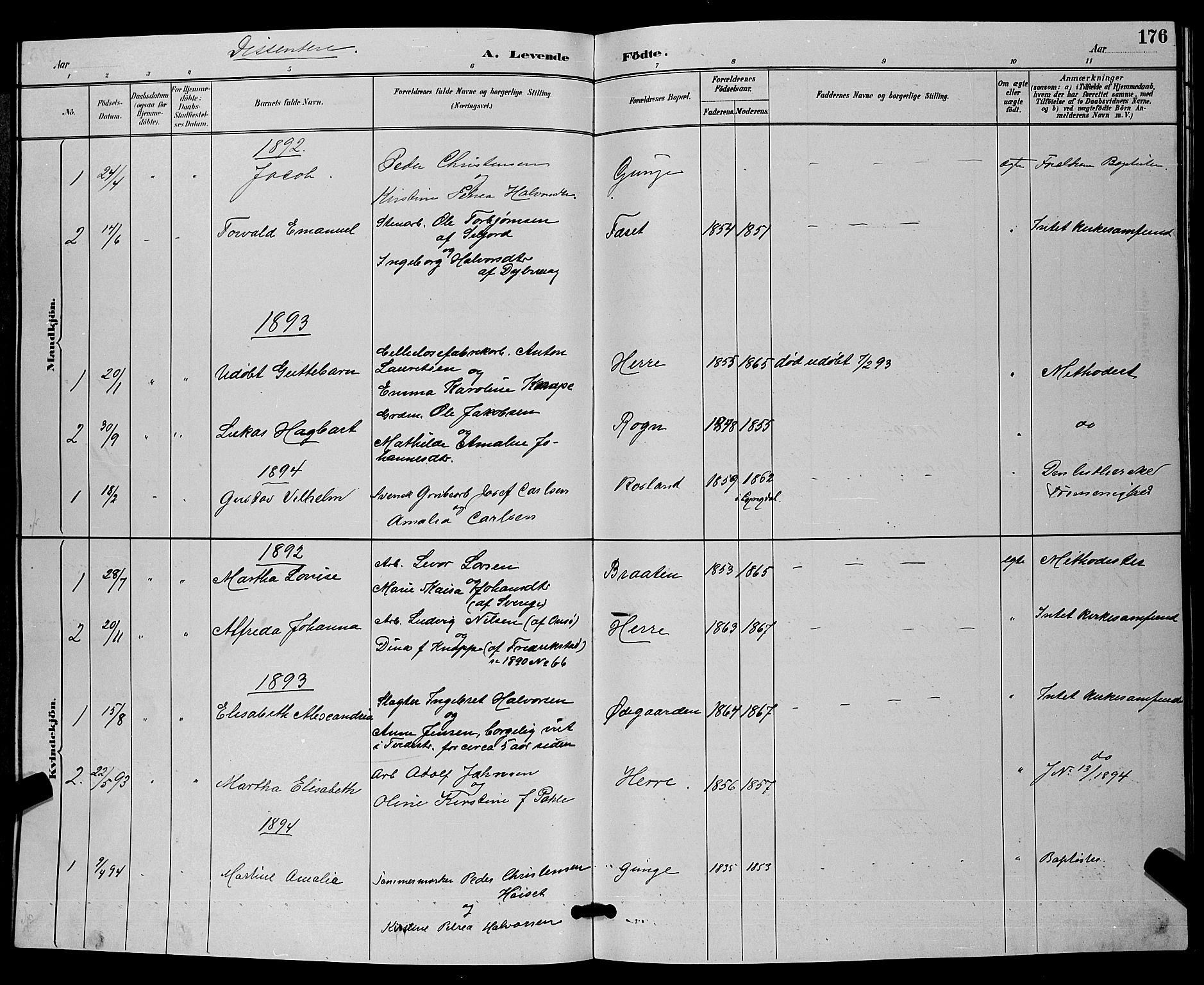 SAKO, Bamble kirkebøker, G/Ga/L0009: Klokkerbok nr. I 9, 1888-1900, s. 176