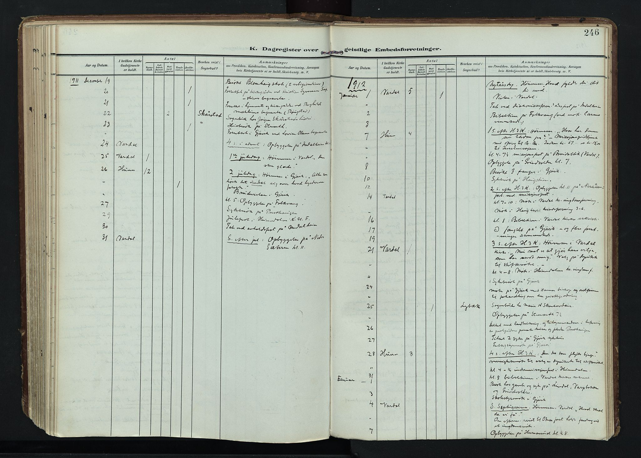 SAH, Vardal prestekontor, H/Ha/Haa/L0020: Ministerialbok nr. 20, 1907-1921, s. 246