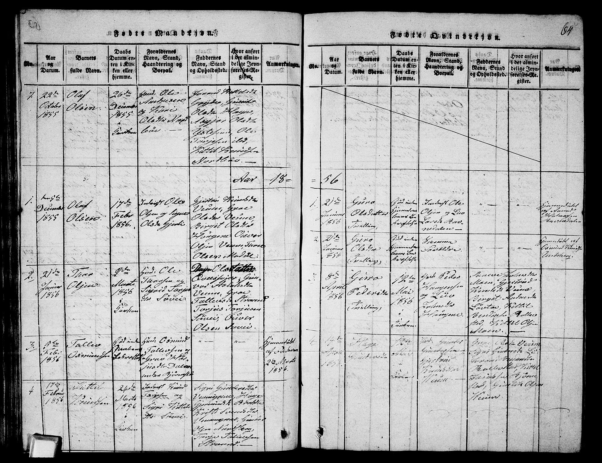 SAKO, Fyresdal kirkebøker, G/Ga/L0003: Klokkerbok nr. I 3, 1815-1863, s. 64