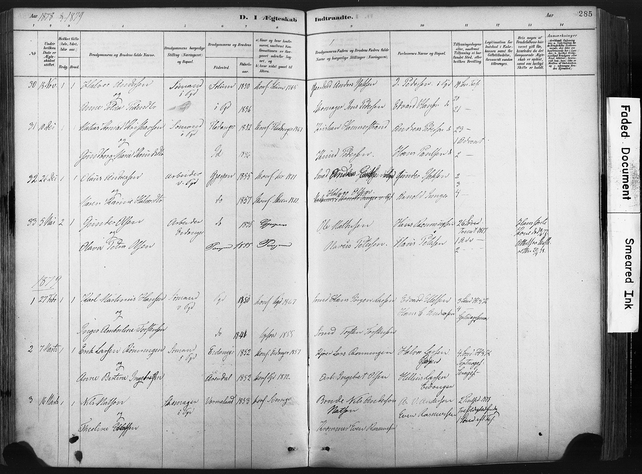 SAKO, Porsgrunn kirkebøker , F/Fa/L0008: Ministerialbok nr. 8, 1878-1895, s. 285