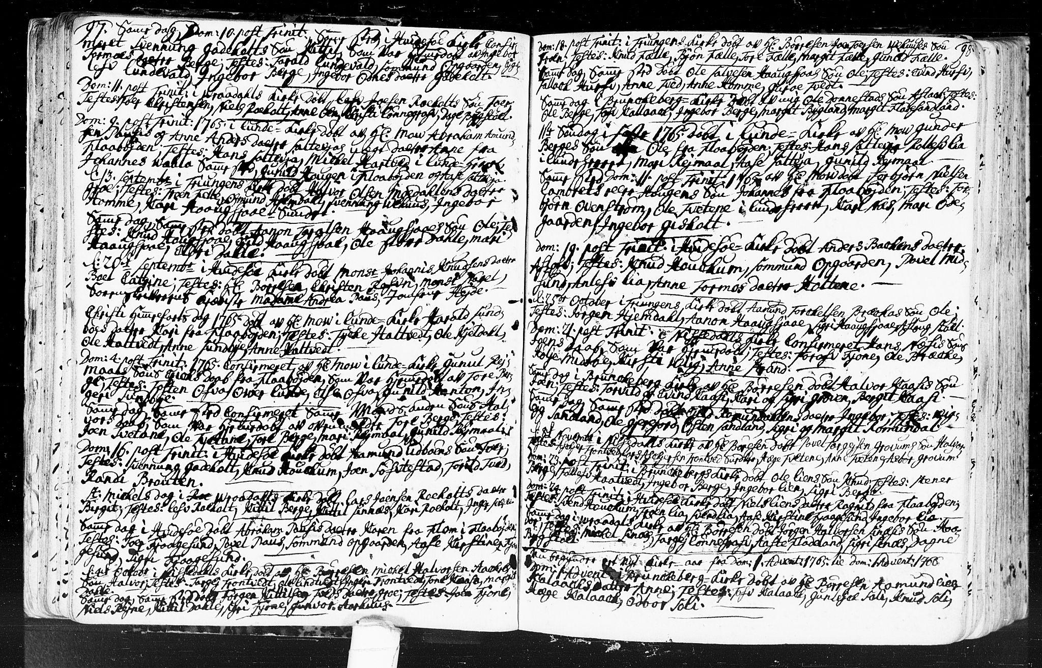 SAKO, Kviteseid kirkebøker, F/Fa/L0001: Ministerialbok nr. I 1, 1754-1773, s. 97-98