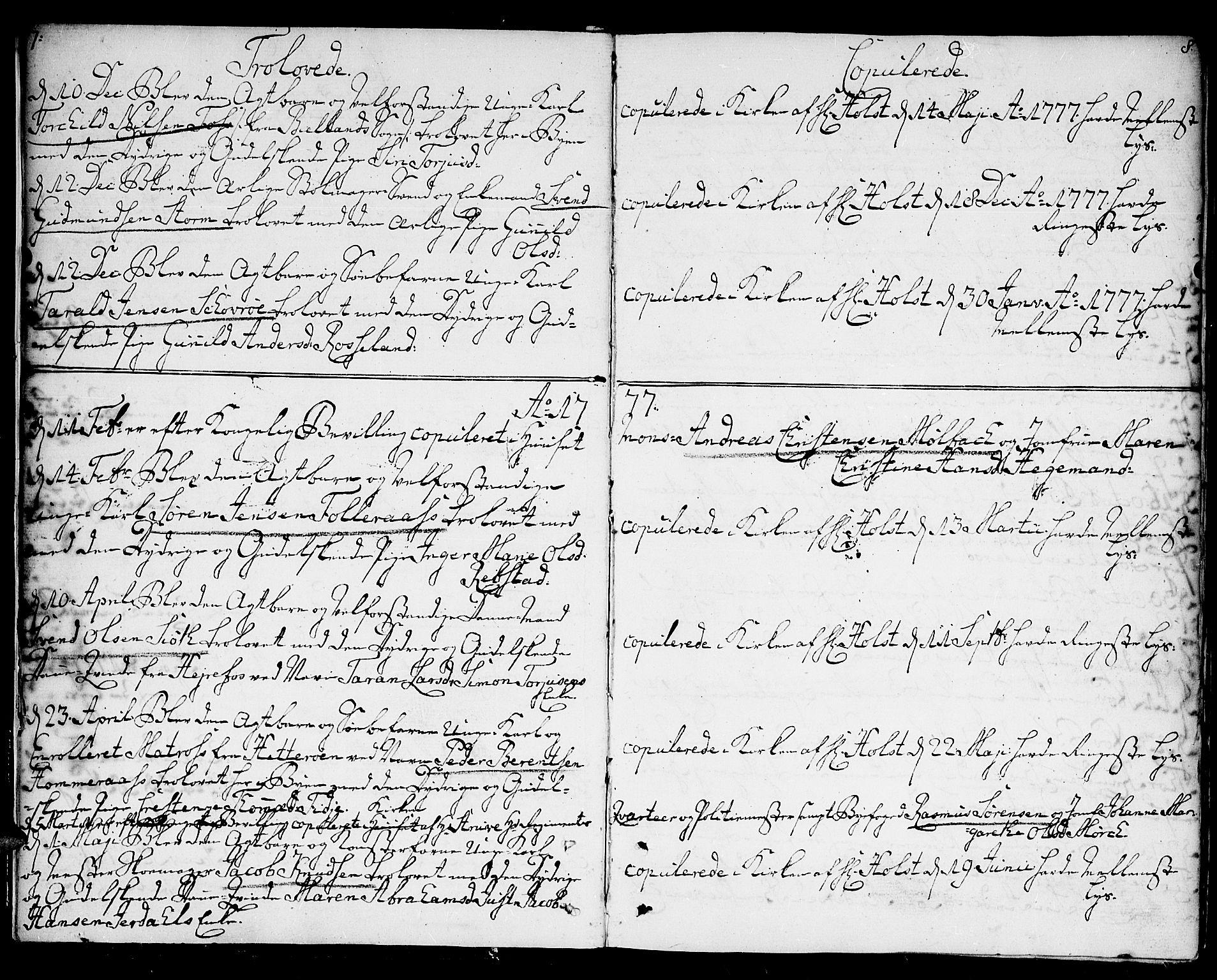 SAK, Kristiansand domprosti, F/Fa/L0005: Ministerialbok nr. A 5, 1776-1818, s. 7-8