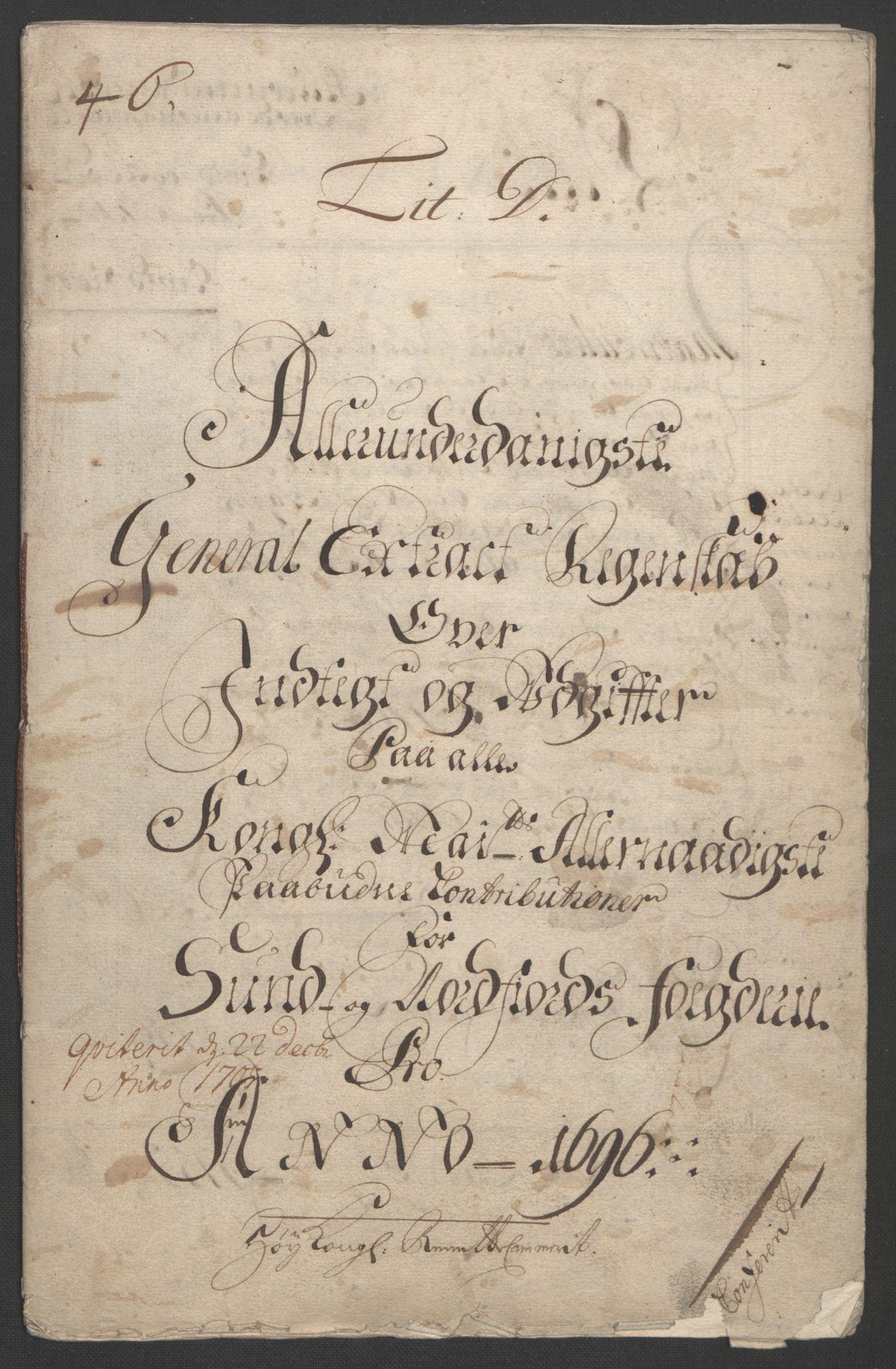 RA, Rentekammeret inntil 1814, Reviderte regnskaper, Fogderegnskap, R53/L3422: Fogderegnskap Sunn- og Nordfjord, 1695-1696, s. 217