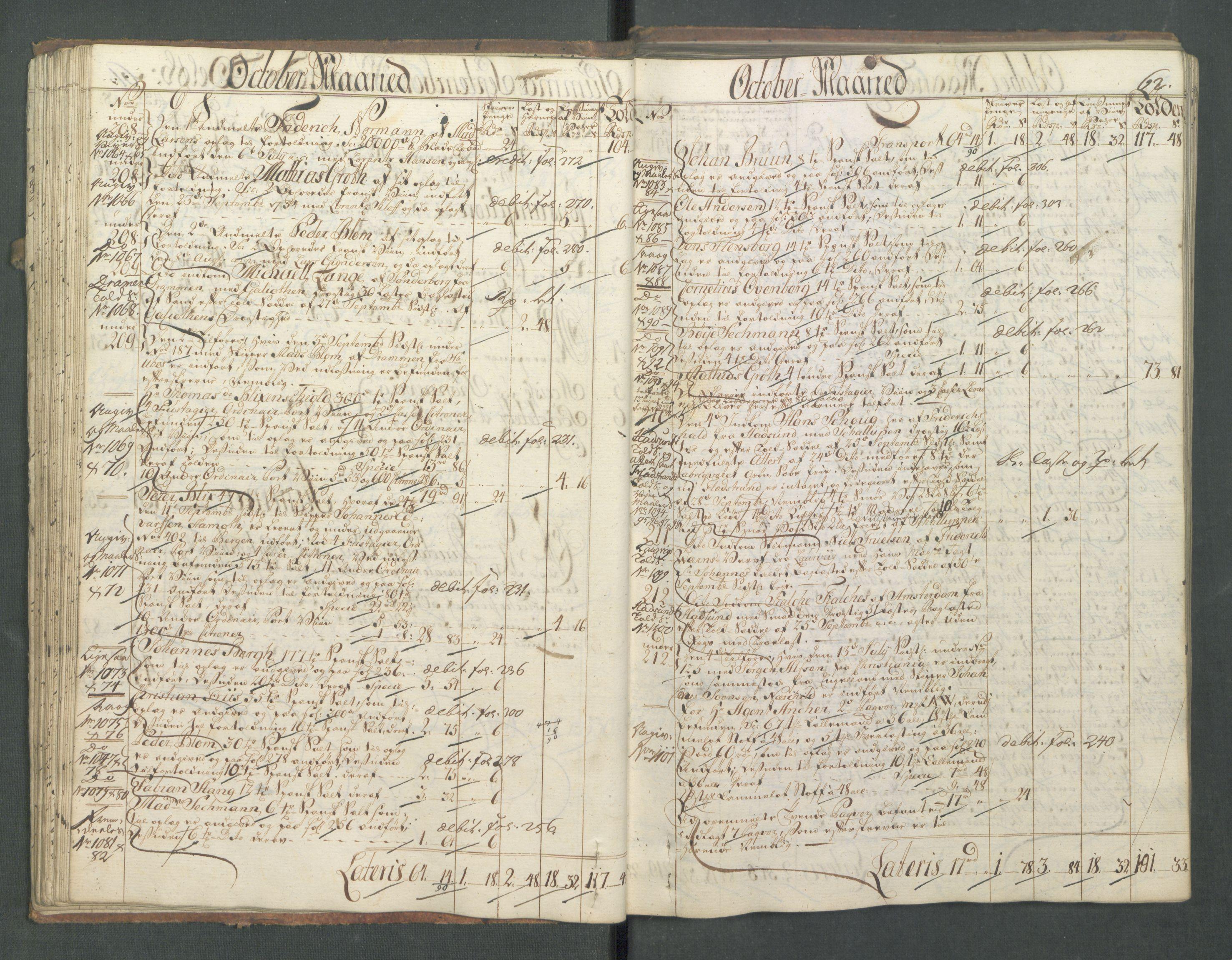 RA, Generaltollkammeret, tollregnskaper, R01/L0028: Tollregnskaper Fredrikshald, 1756, s. 62