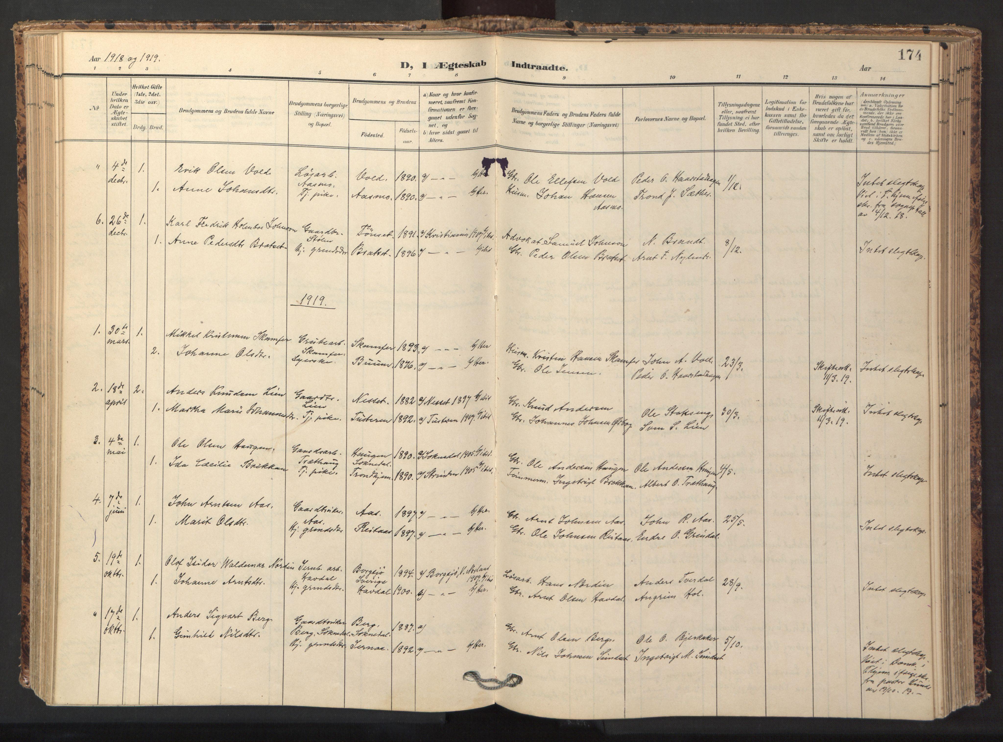 SAT, Ministerialprotokoller, klokkerbøker og fødselsregistre - Sør-Trøndelag, 674/L0873: Ministerialbok nr. 674A05, 1908-1923, s. 174