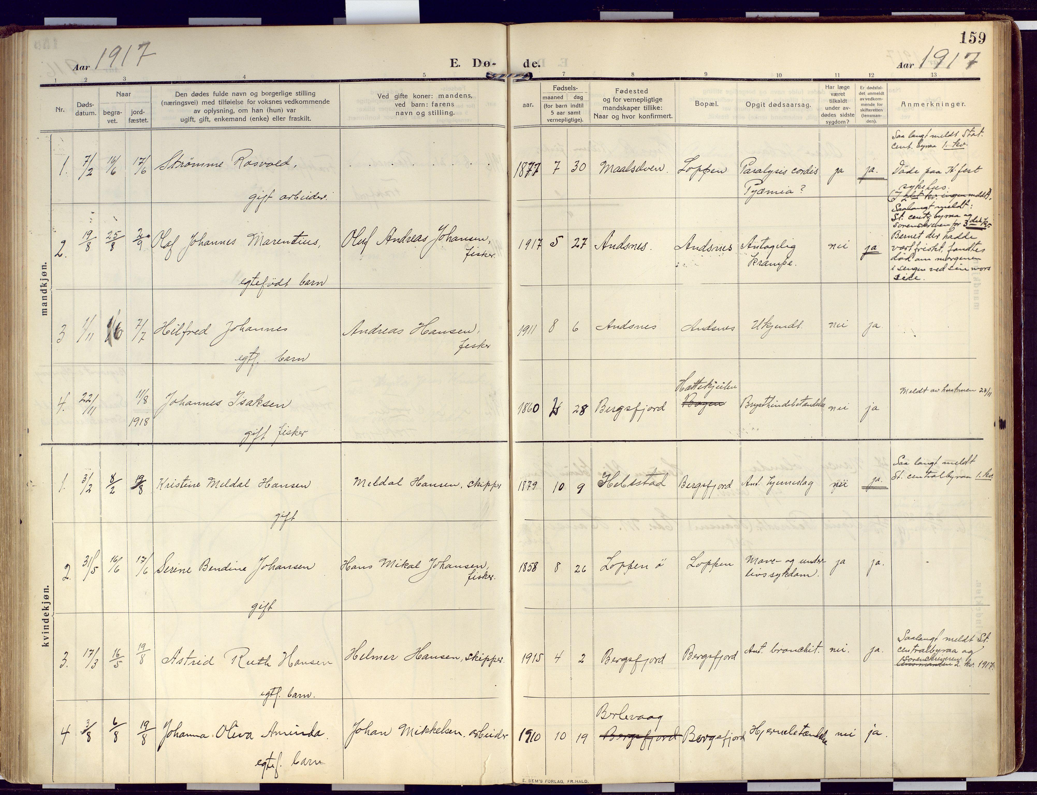SATØ, Loppa sokneprestkontor, H/Ha/L0011kirke: Ministerialbok nr. 11, 1909-1919, s. 159