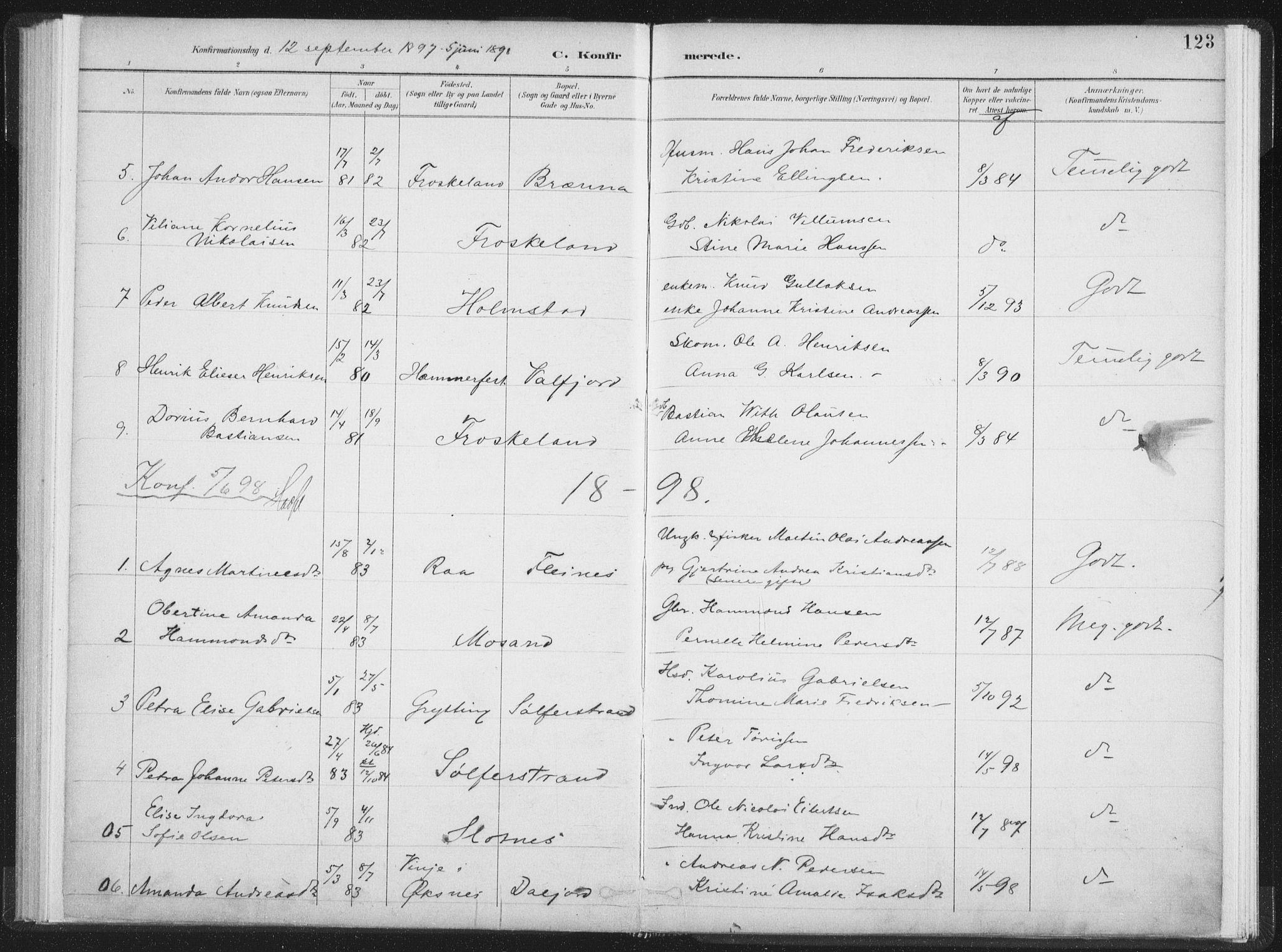 SAT, Ministerialprotokoller, klokkerbøker og fødselsregistre - Nordland, 890/L1286: Ministerialbok nr. 890A01, 1882-1902, s. 123