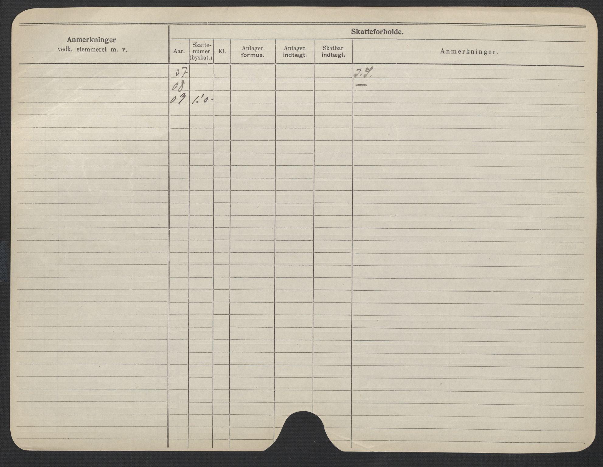 SAO, Oslo folkeregister, Registerkort, F/Fa/Fac/L0012: Kvinner, 1906-1914, s. 500b