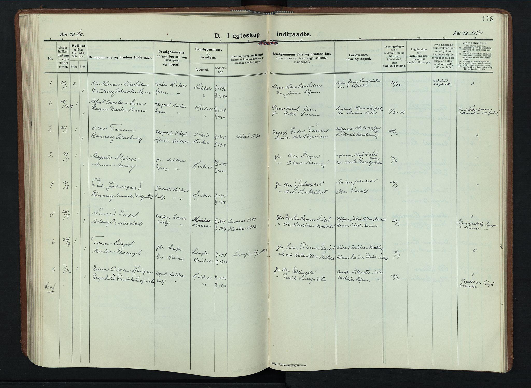 SAH, Sel prestekontor, Klokkerbok nr. 6, 1923-1953, s. 178
