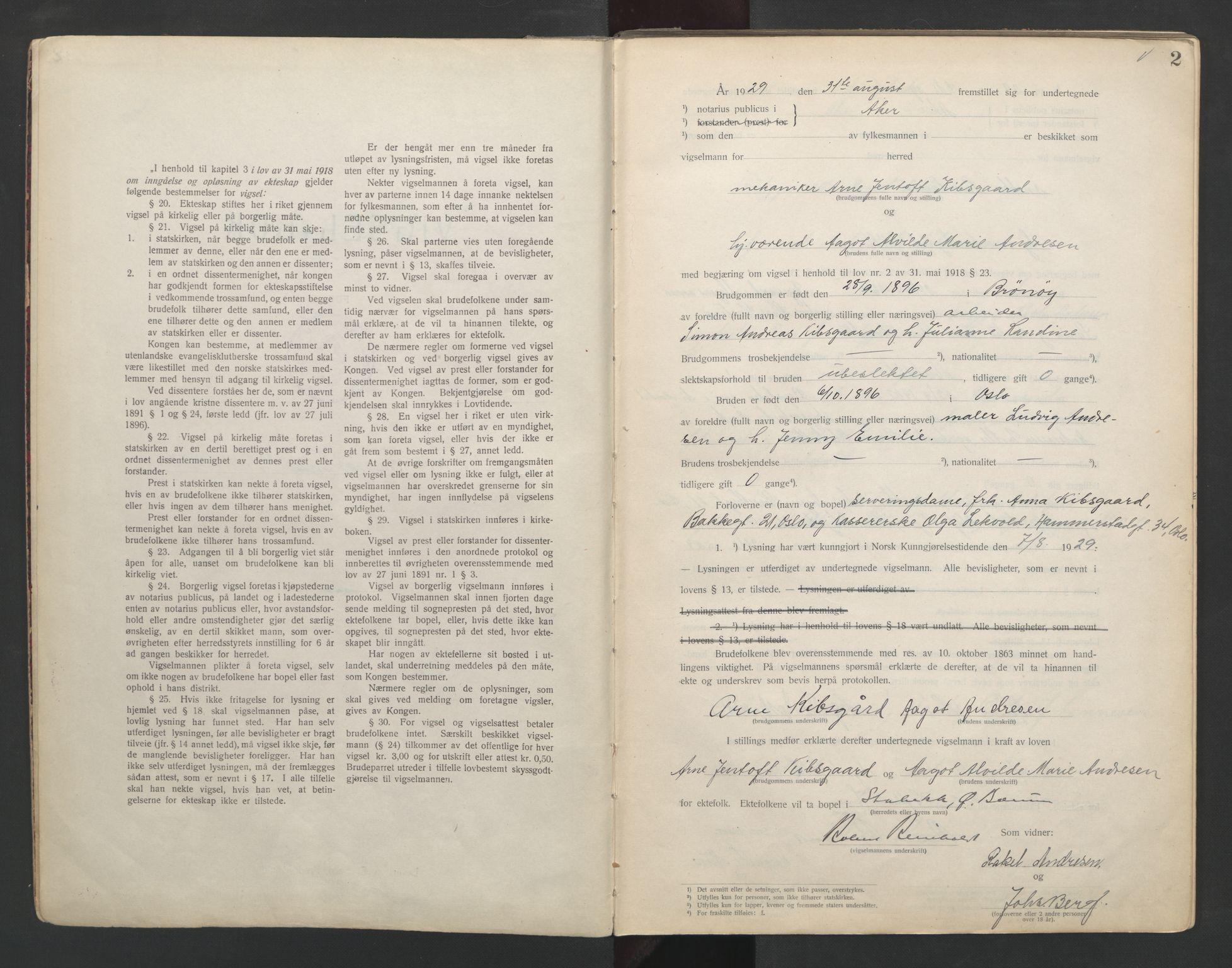 SAO, Aker sorenskriveri, L/Lc/Lcb/L0005: Vigselprotokoll, 1929-1931, s. 2