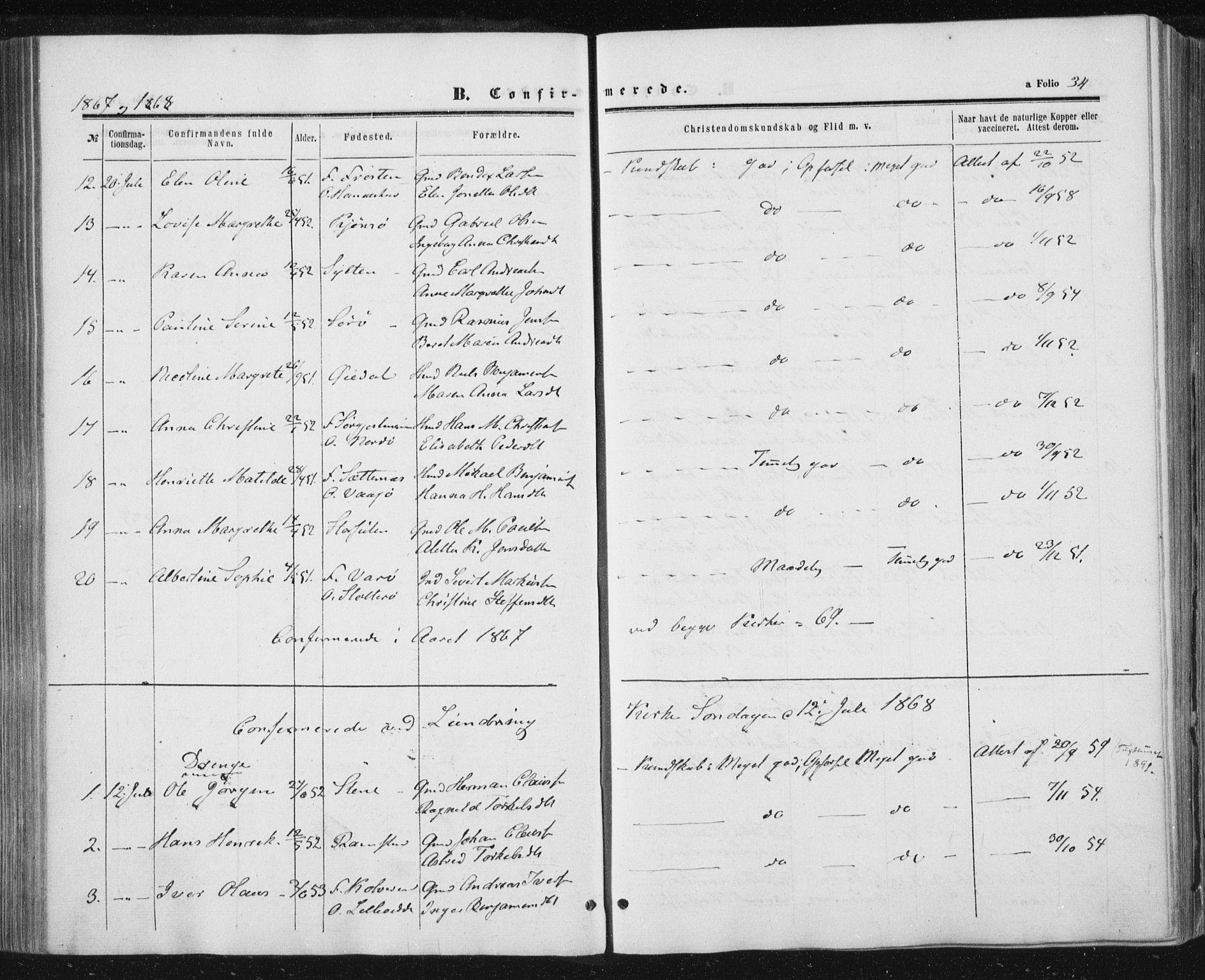 SAT, Ministerialprotokoller, klokkerbøker og fødselsregistre - Nord-Trøndelag, 784/L0670: Ministerialbok nr. 784A05, 1860-1876, s. 34